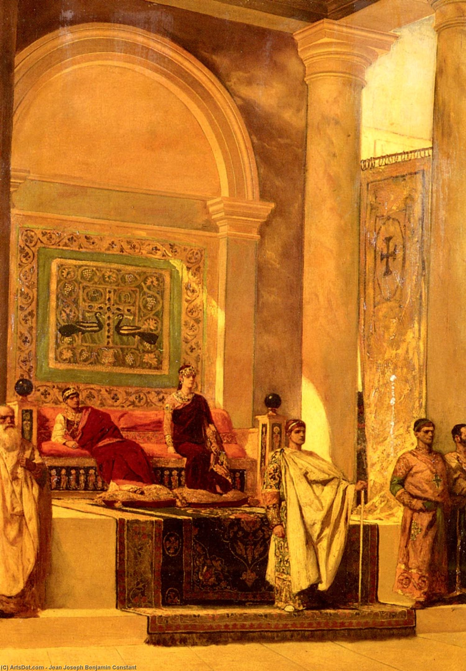 Wikioo.org - The Encyclopedia of Fine Arts - Painting, Artwork by Jean-Joseph Constant (Benjamin-Constant) - The Throne Room In Byzantium
