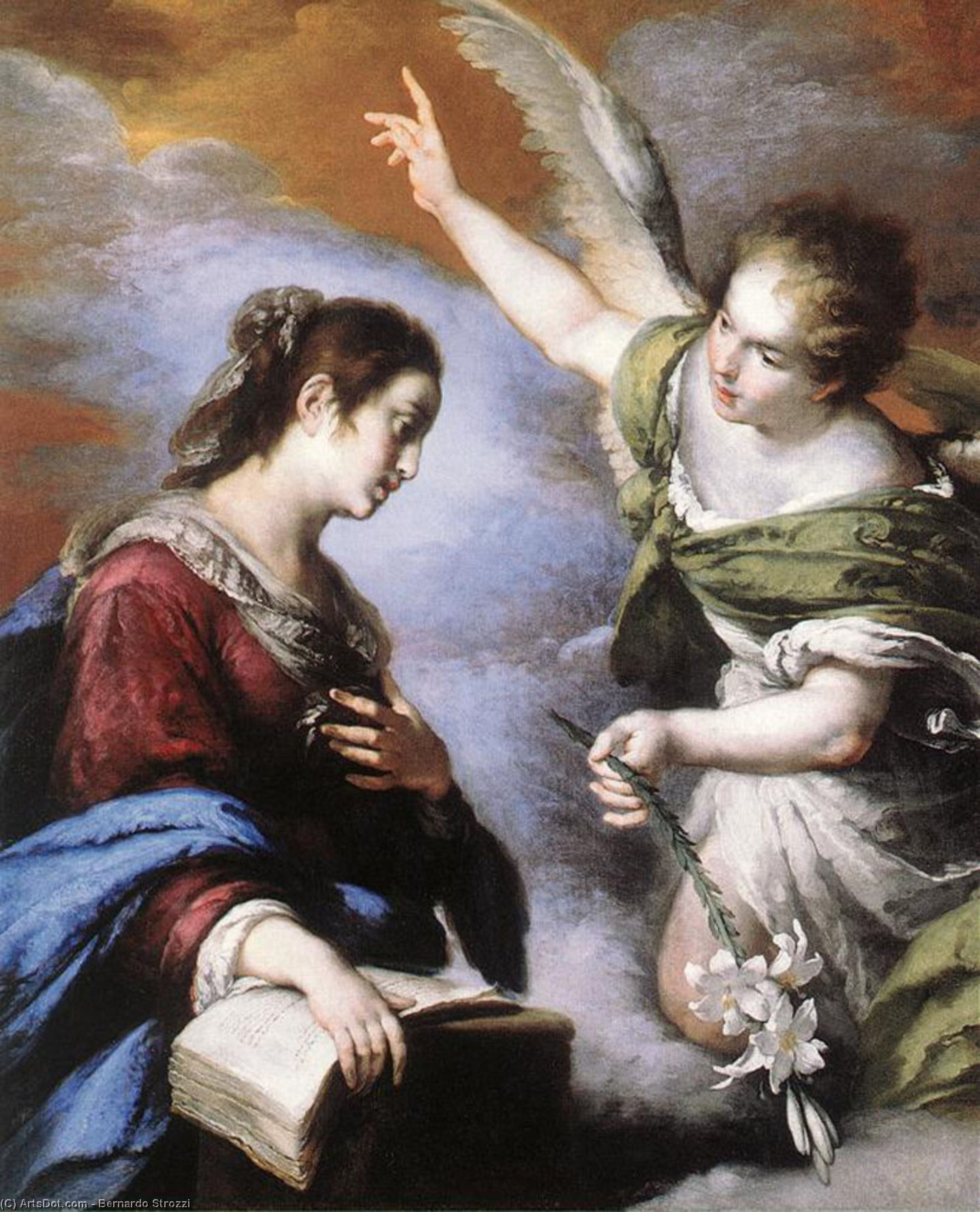 Wikioo.org - The Encyclopedia of Fine Arts - Painting, Artwork by Bernardo Strozzi - The Annunciation
