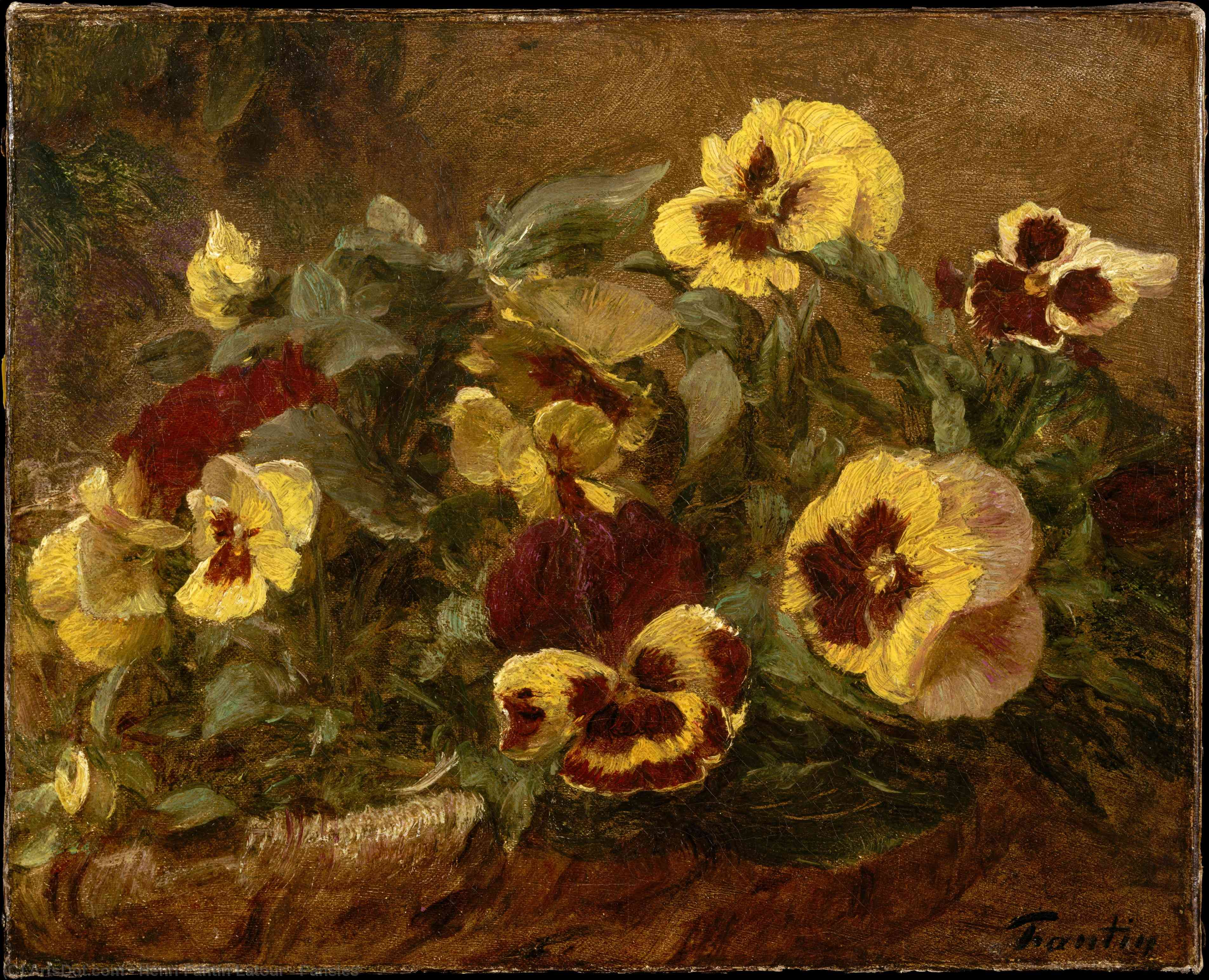 Wikioo.org - The Encyclopedia of Fine Arts - Painting, Artwork by Henri Fantin Latour - Pansies