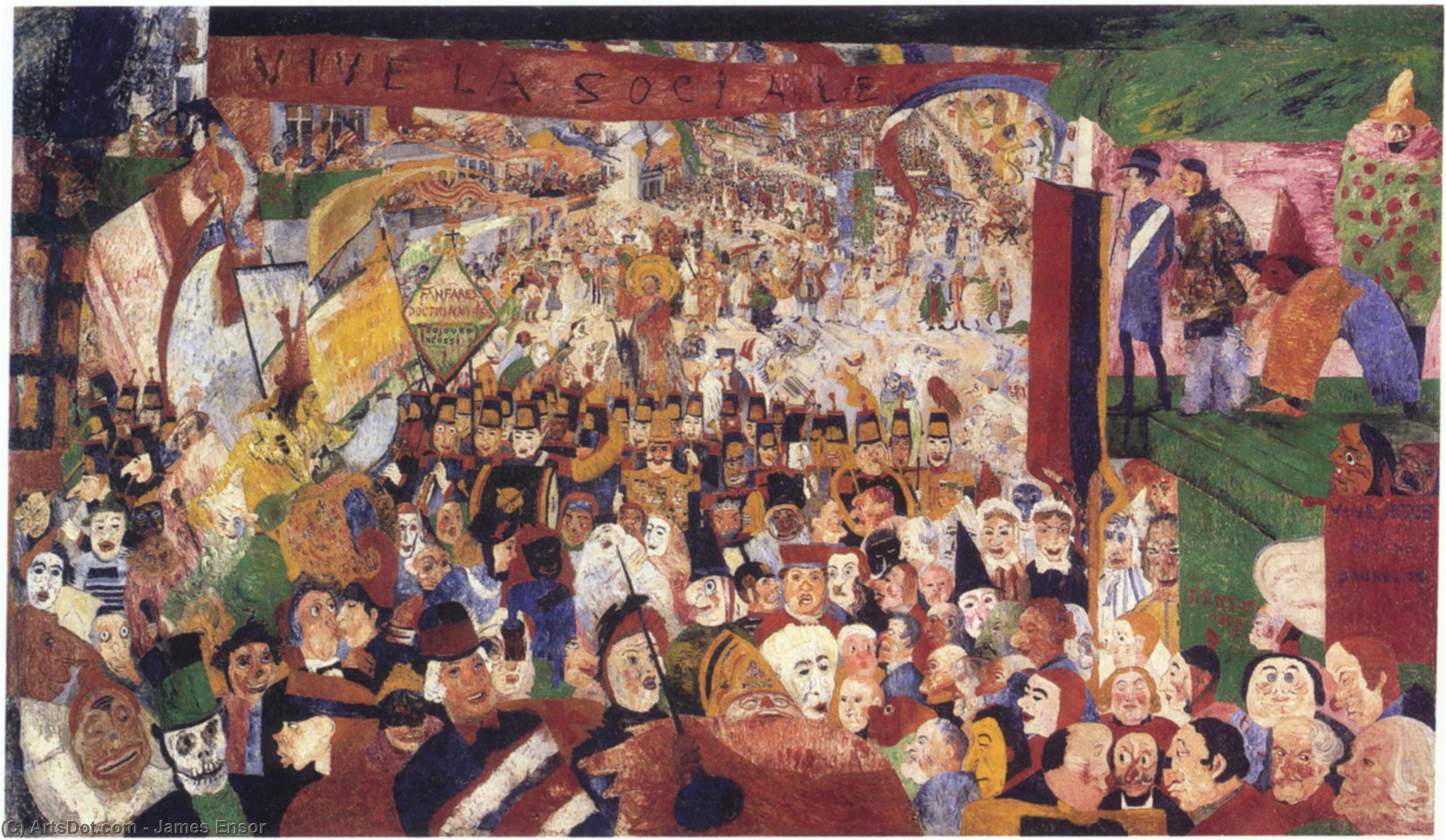 Wikoo.org - موسوعة الفنون الجميلة - اللوحة، العمل الفني James Ensor - Entry of Christ Into Brussels