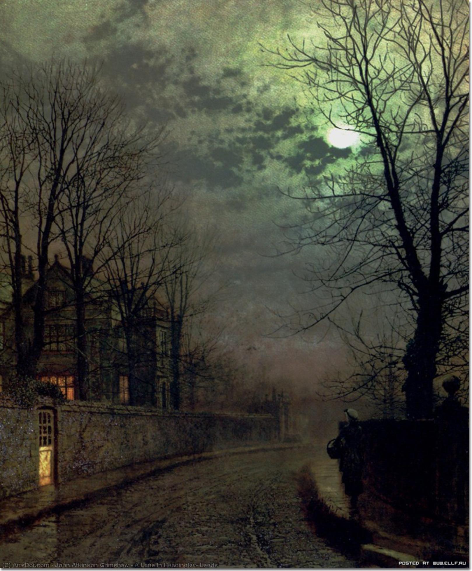 Wikioo.org - The Encyclopedia of Fine Arts - Painting, Artwork by John Atkinson Grimshaw - A Lane In Headingley, Leeds