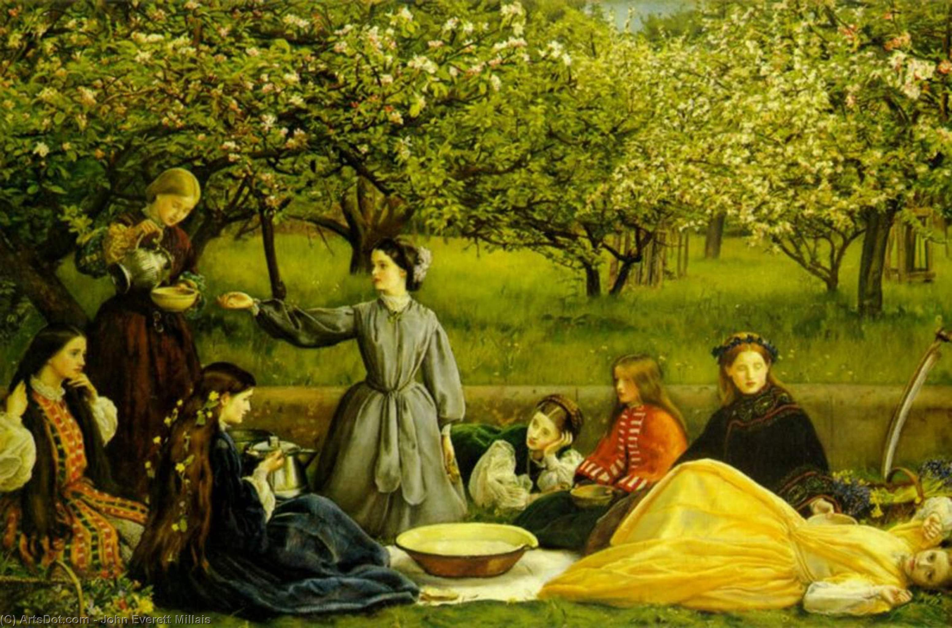 Wikioo.org - The Encyclopedia of Fine Arts - Painting, Artwork by John Everett Millais - Apple Blossoms (Spring)