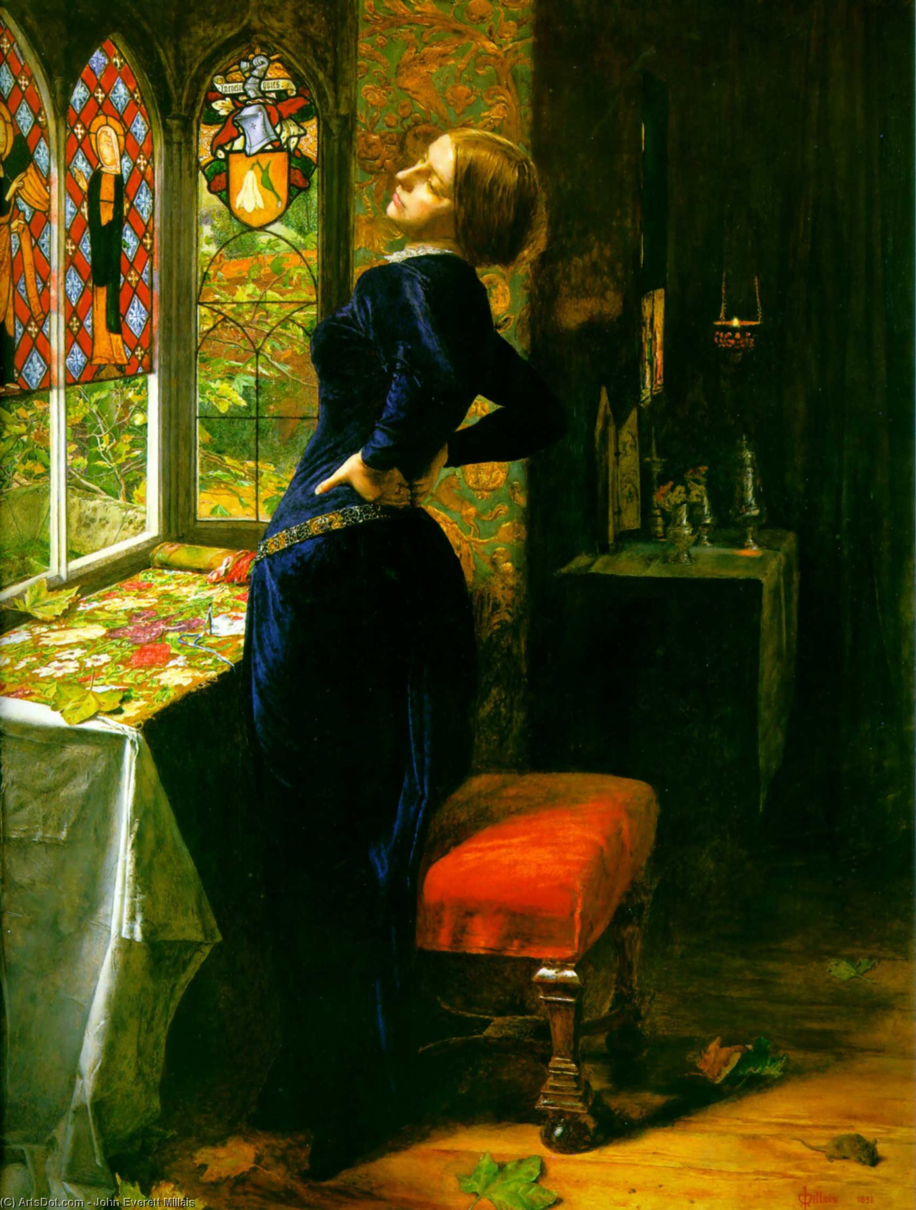 Wikioo.org - The Encyclopedia of Fine Arts - Painting, Artwork by John Everett Millais - Mariana in the Moated Grange