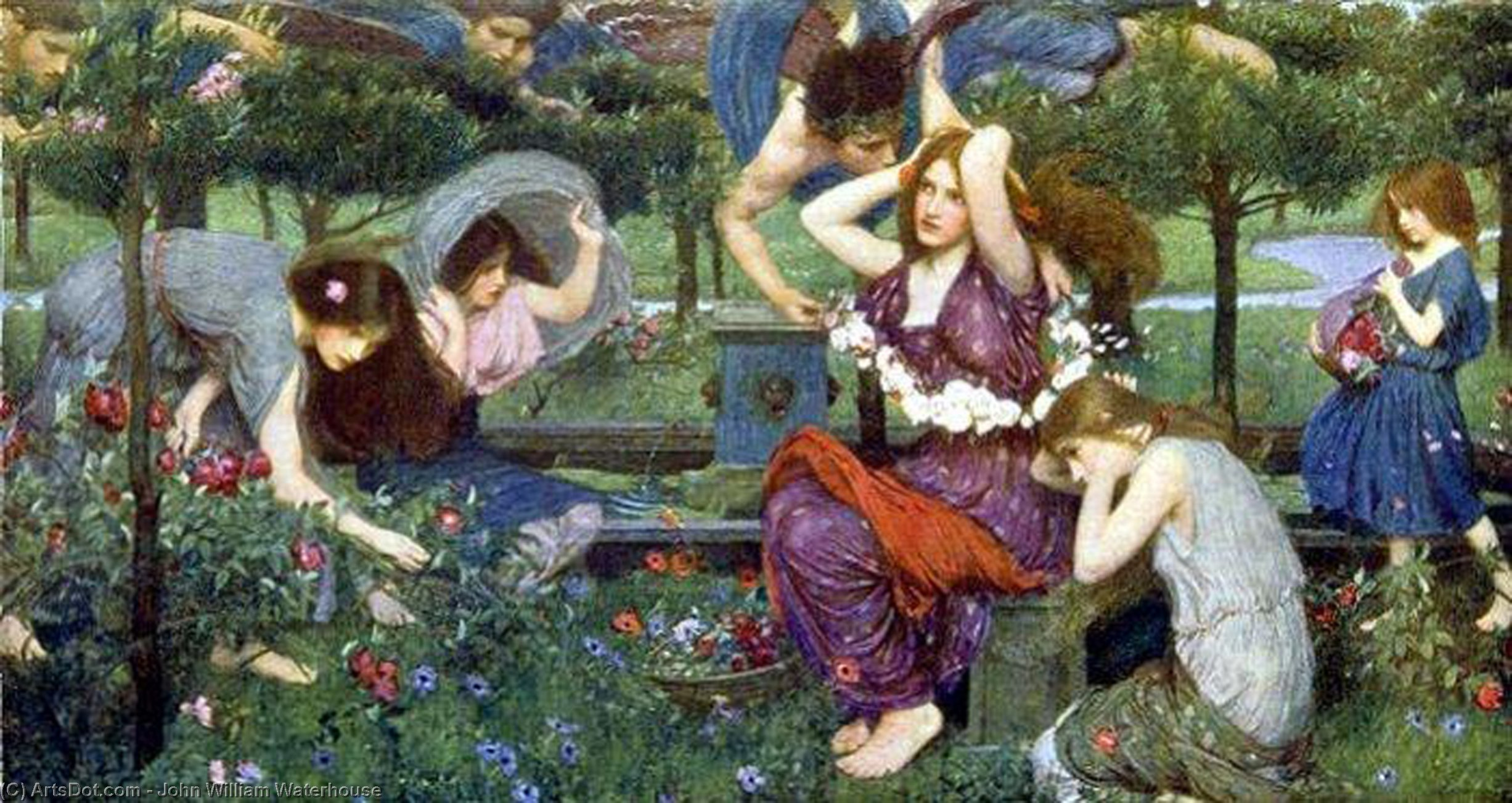 Wikioo.org - The Encyclopedia of Fine Arts - Painting, Artwork by John William Waterhouse - Flora and the Zephyrs