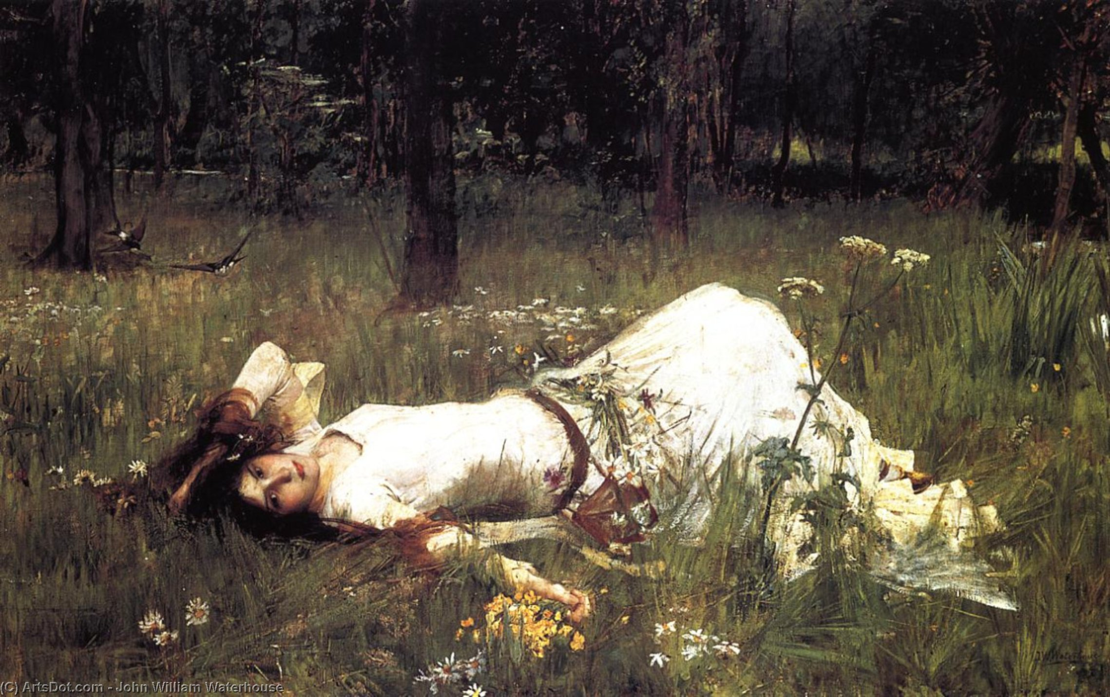 Wikioo.org - The Encyclopedia of Fine Arts - Painting, Artwork by John William Waterhouse - Ophelia 1