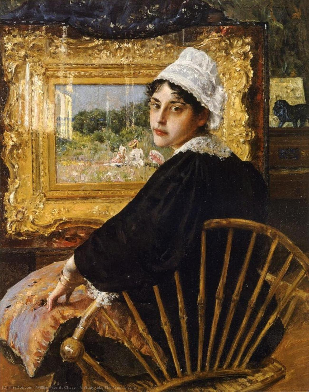 Wikioo.org - The Encyclopedia of Fine Arts - Painting, Artwork by William Merritt Chase - A Study (aka The Artist's Wife)