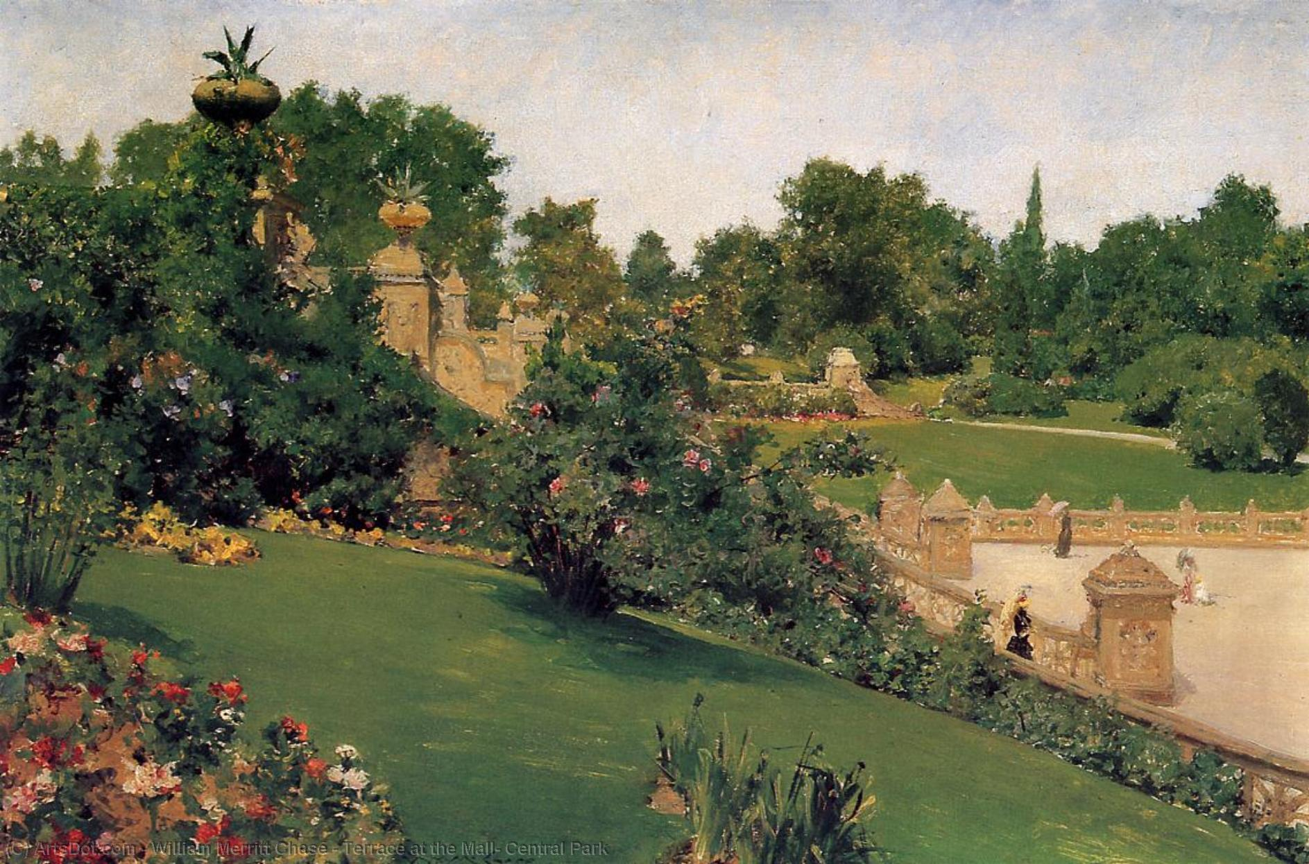 Wikioo.org - The Encyclopedia of Fine Arts - Painting, Artwork by William Merritt Chase - Terrace at the Mall, Central Park