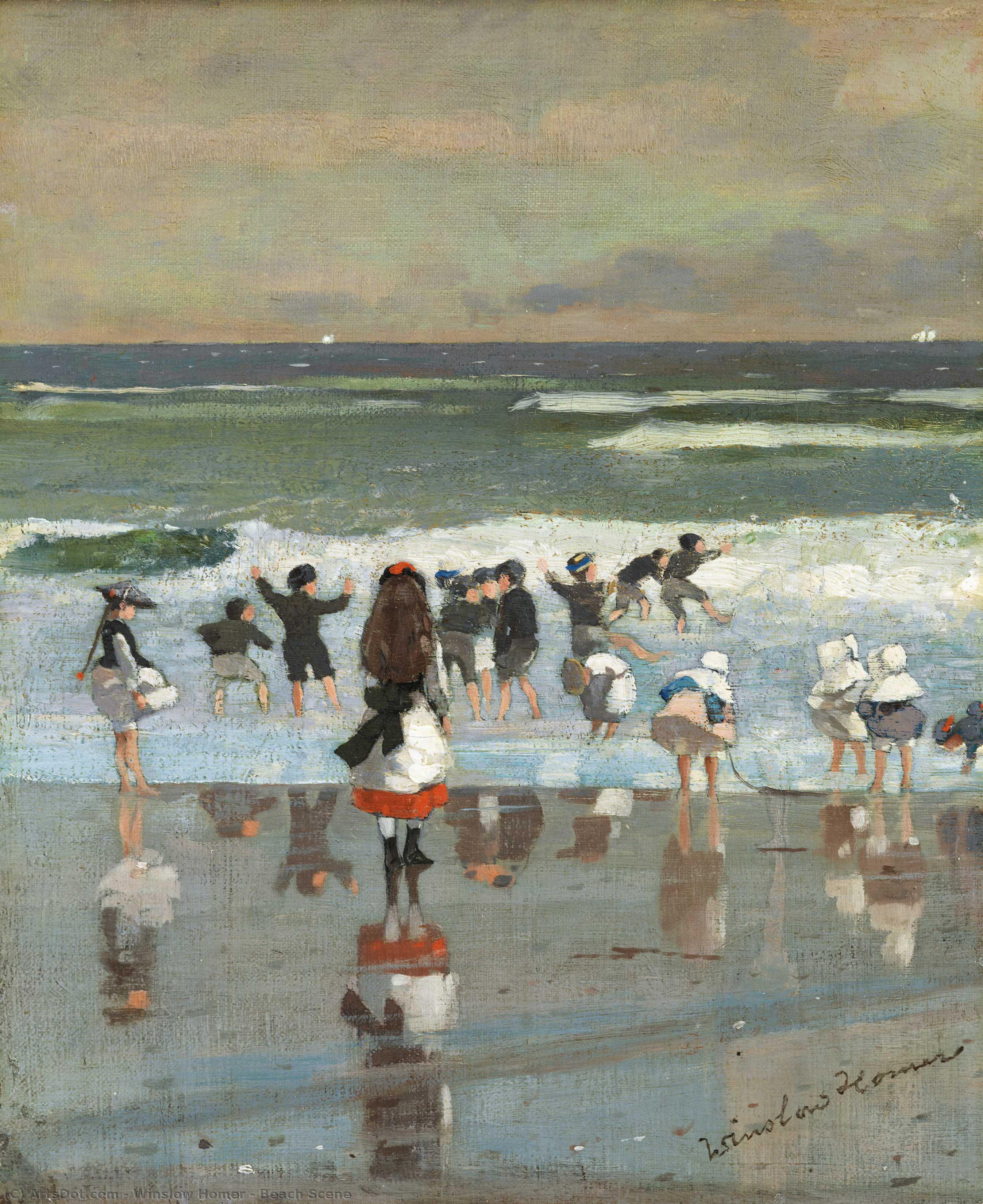Wikioo.org – La Enciclopedia de las Bellas Artes - Pintura, Obras de arte de Winslow Homer - escena de la playa