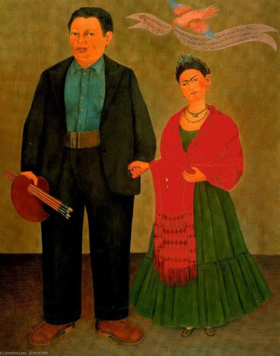 Wikioo.org - The Encyclopedia of Fine Arts - Painting, Artwork by Frida Kahlo - Frida y Diego Rivera