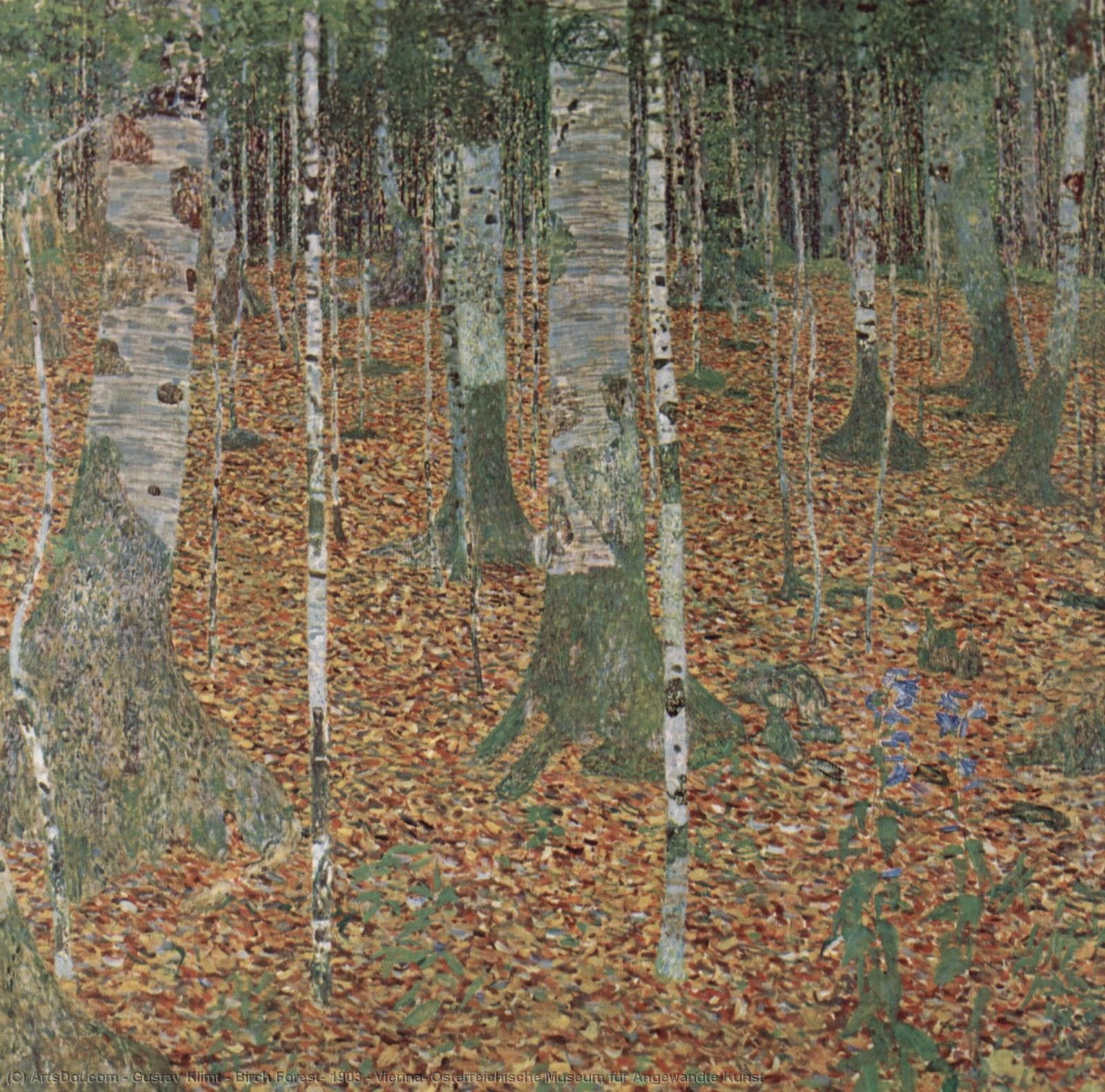 Wikioo.org - The Encyclopedia of Fine Arts - Painting, Artwork by Gustav Klimt - Birch Forest, 1903 - Vienna, Osterreichische Museum für Angewandte Kunst