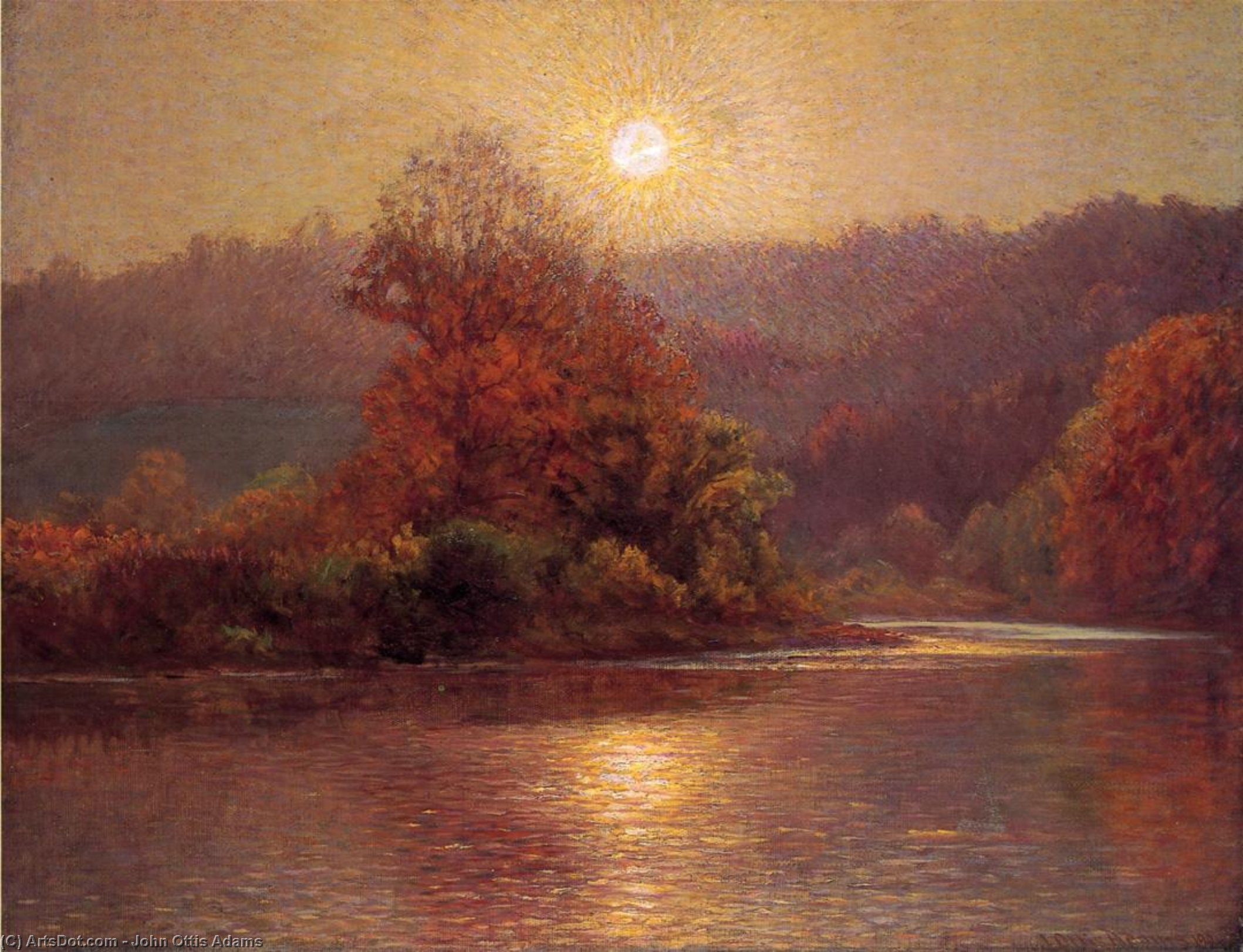 Wikioo.org - The Encyclopedia of Fine Arts - Painting, Artwork by John Ottis Adams - The Closing of an Autumn Day