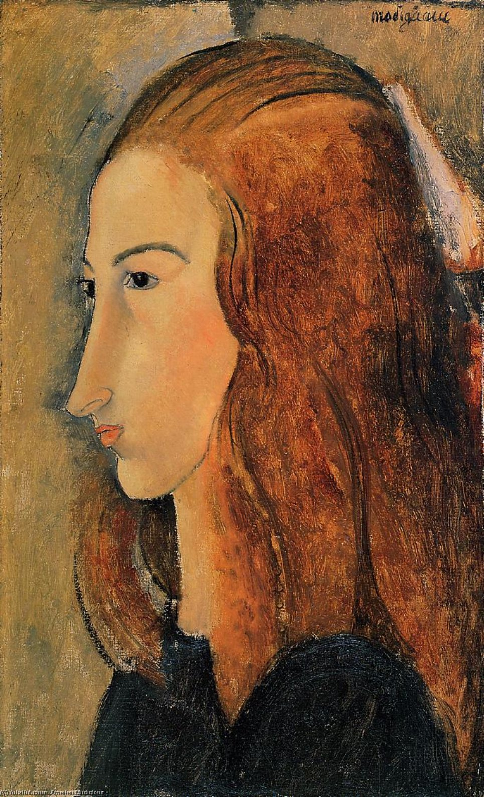 Wikioo.org - สารานุกรมวิจิตรศิลป์ - จิตรกรรม Amedeo Modigliani - Portrait of Jeanne Hebutern