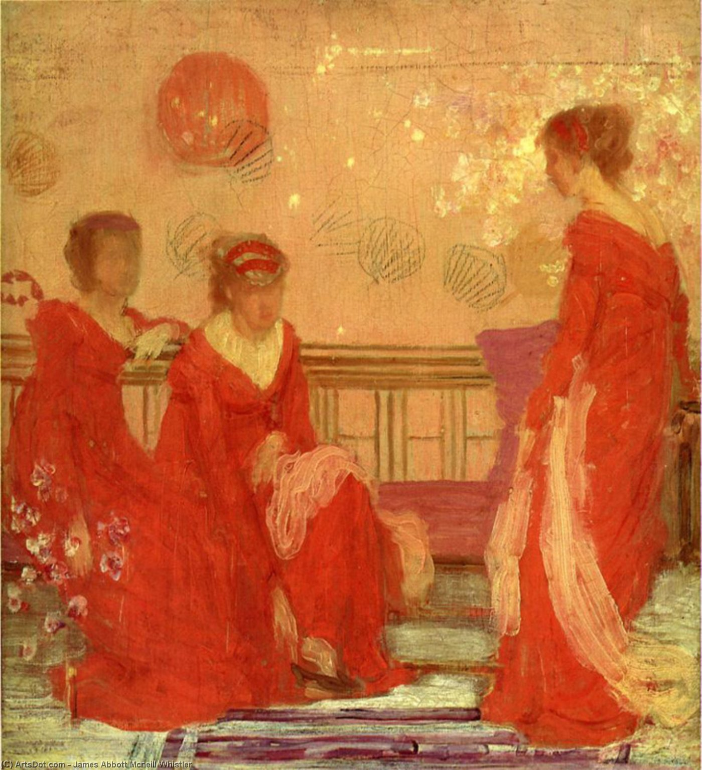 Wikioo.org - The Encyclopedia of Fine Arts - Painting, Artwork by James Abbott Mcneill Whistler - Harmony in Flesh Colour and Red