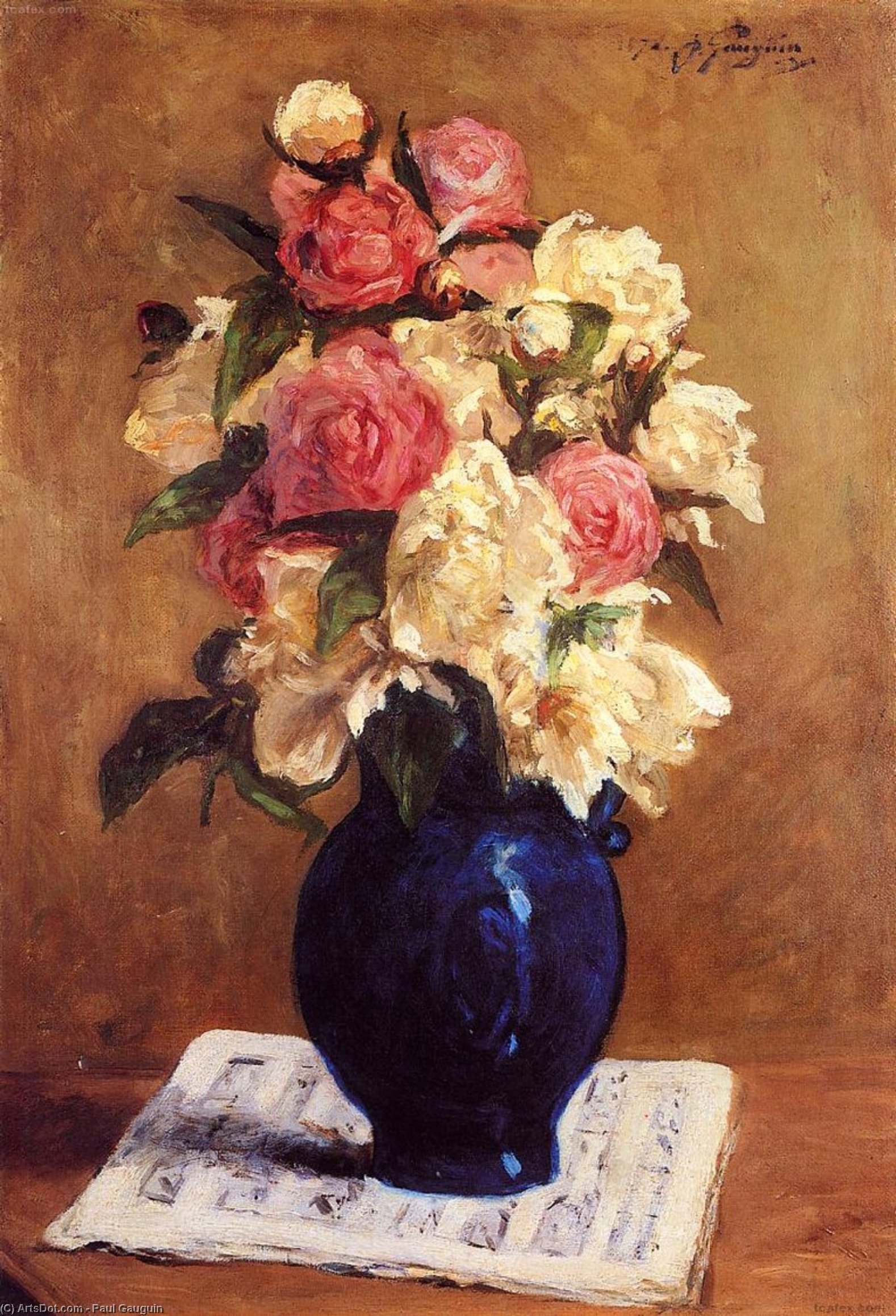 Wikioo.org - The Encyclopedia of Fine Arts - Painting, Artwork by Paul Gauguin - Boquet of Peonies on a Musical Score