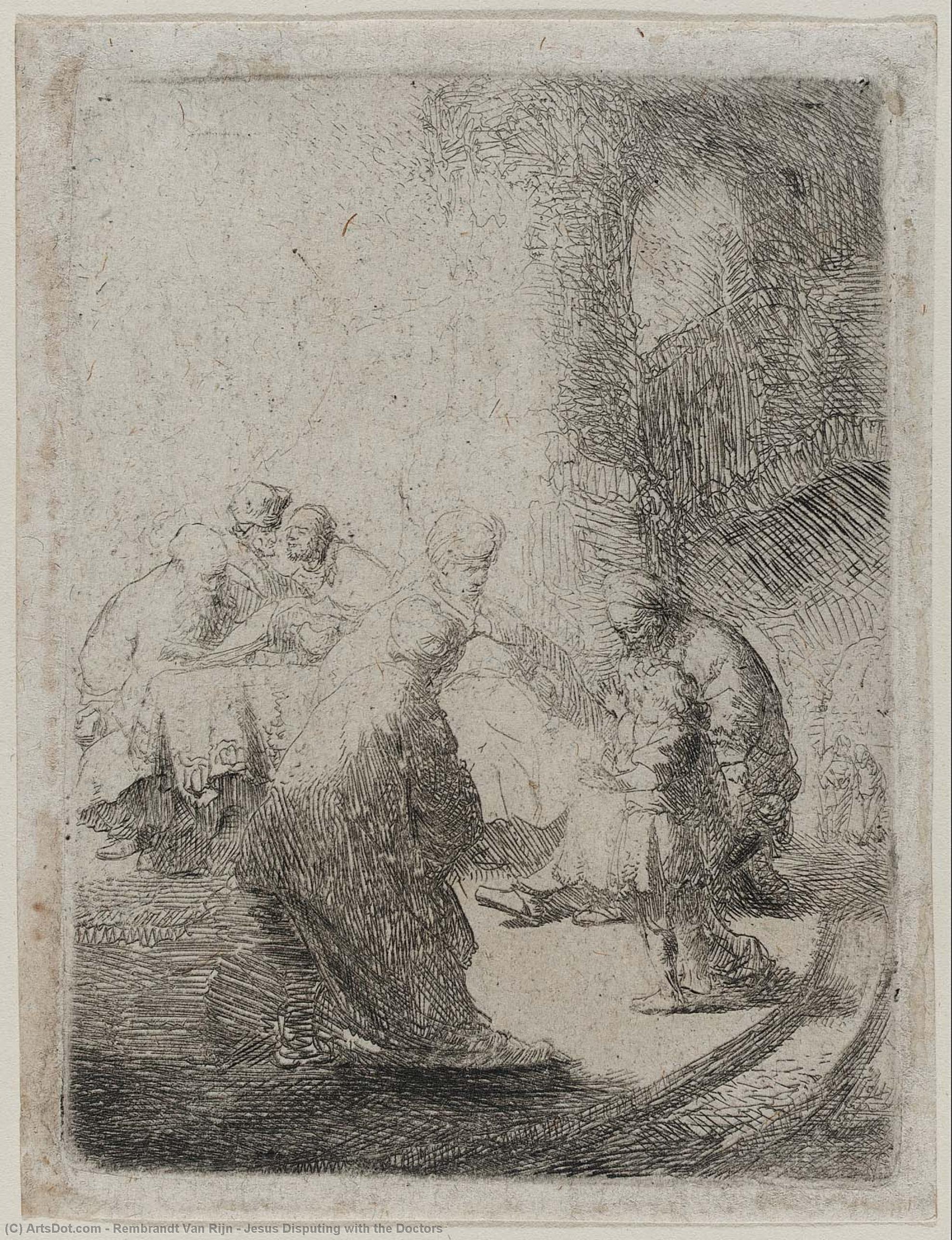 Иисус Оспаривание с врачами - Rembrandt Van Rijn | WikiOO.org -  Энциклопедия изобразительного искусства