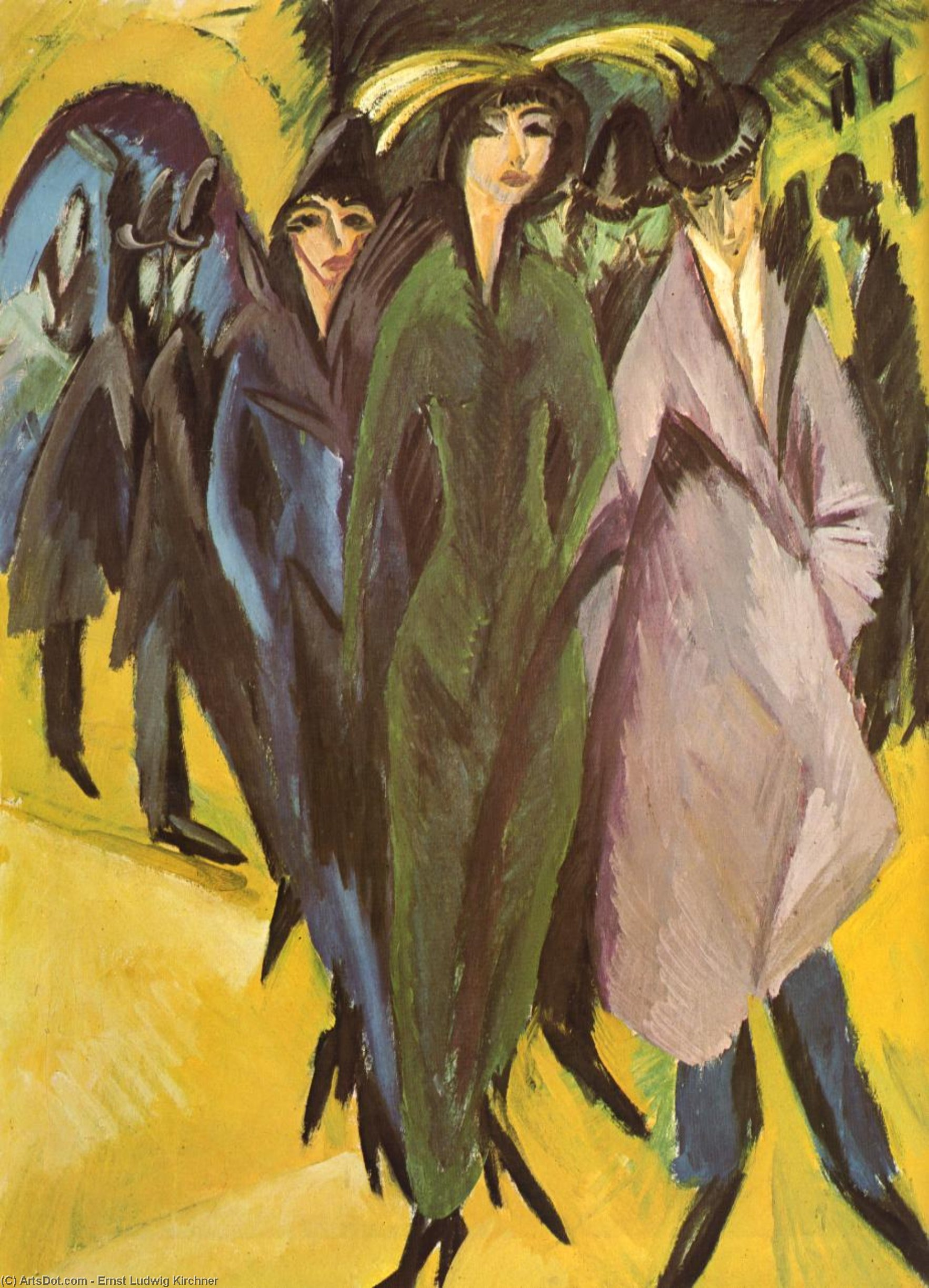Wikioo.org - The Encyclopedia of Fine Arts - Painting, Artwork by Ernst Ludwig Kirchner - Women in the street
