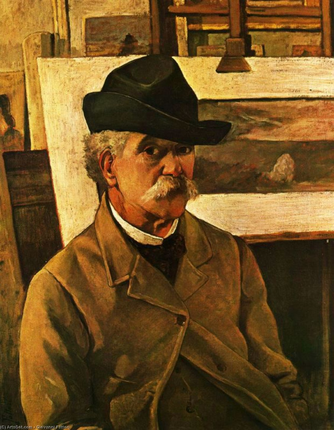 Wikioo.org - The Encyclopedia of Fine Arts - Painting, Artwork by Giovanni Fattori - Self-portrait at sixty-nine years