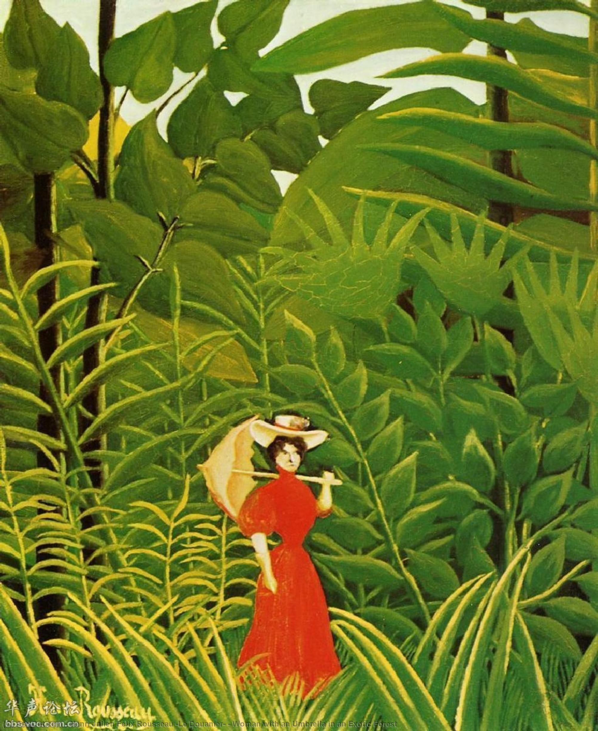 Wikioo.org - The Encyclopedia of Fine Arts - Painting, Artwork by Henri Julien Félix Rousseau (Le Douanier) - Woman with an Umbrella in an Exotic Forest