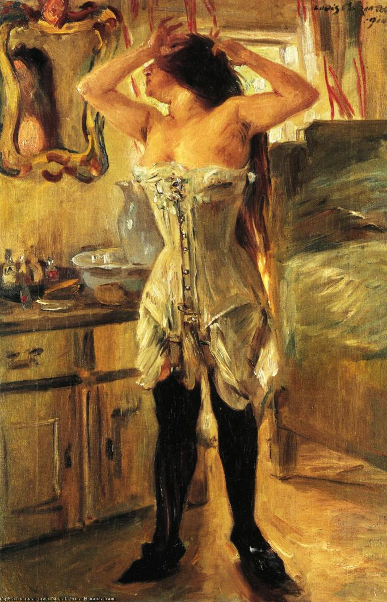 Wikioo.org - The Encyclopedia of Fine Arts - Painting, Artwork by Lovis Corinth (Franz Heinrich Louis) - In a Corset