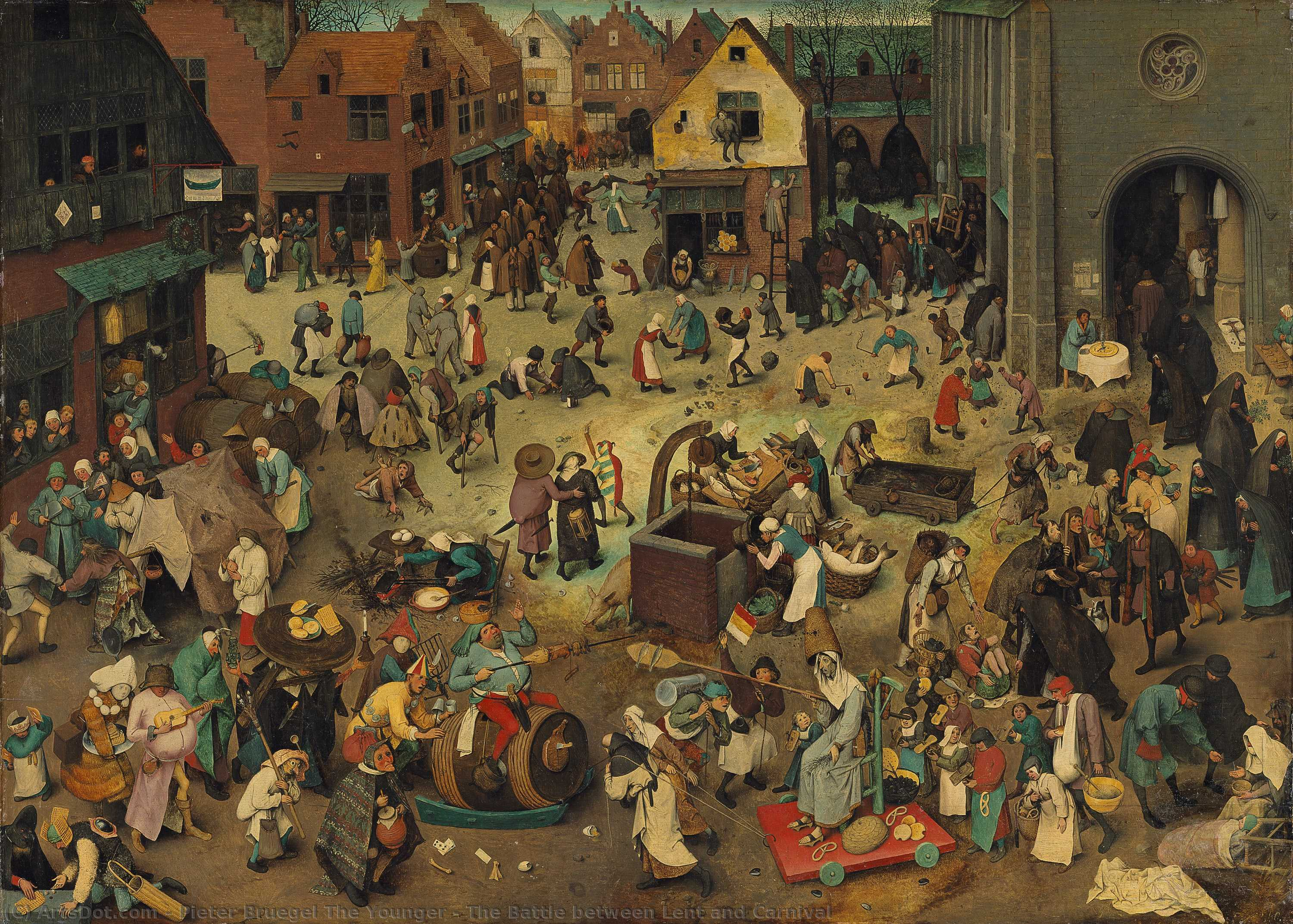 Wikioo.org - The Encyclopedia of Fine Arts - Painting, Artwork by Pieter Bruegel The Younger - The Battle between Lent and Carnival