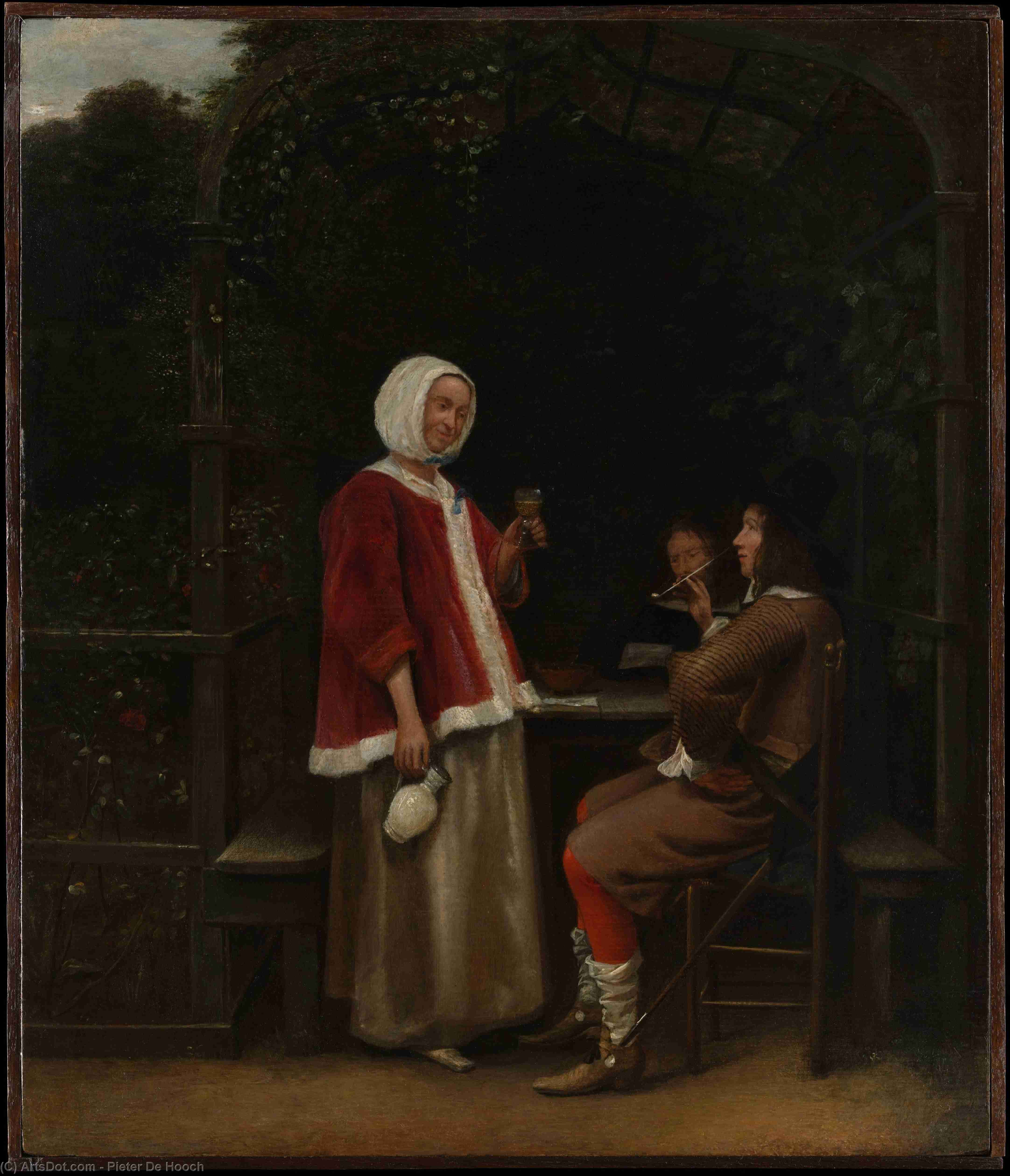Wikioo.org - The Encyclopedia of Fine Arts - Painting, Artwork by Pieter De Hooch - A Woman and Two Men in an Arbor