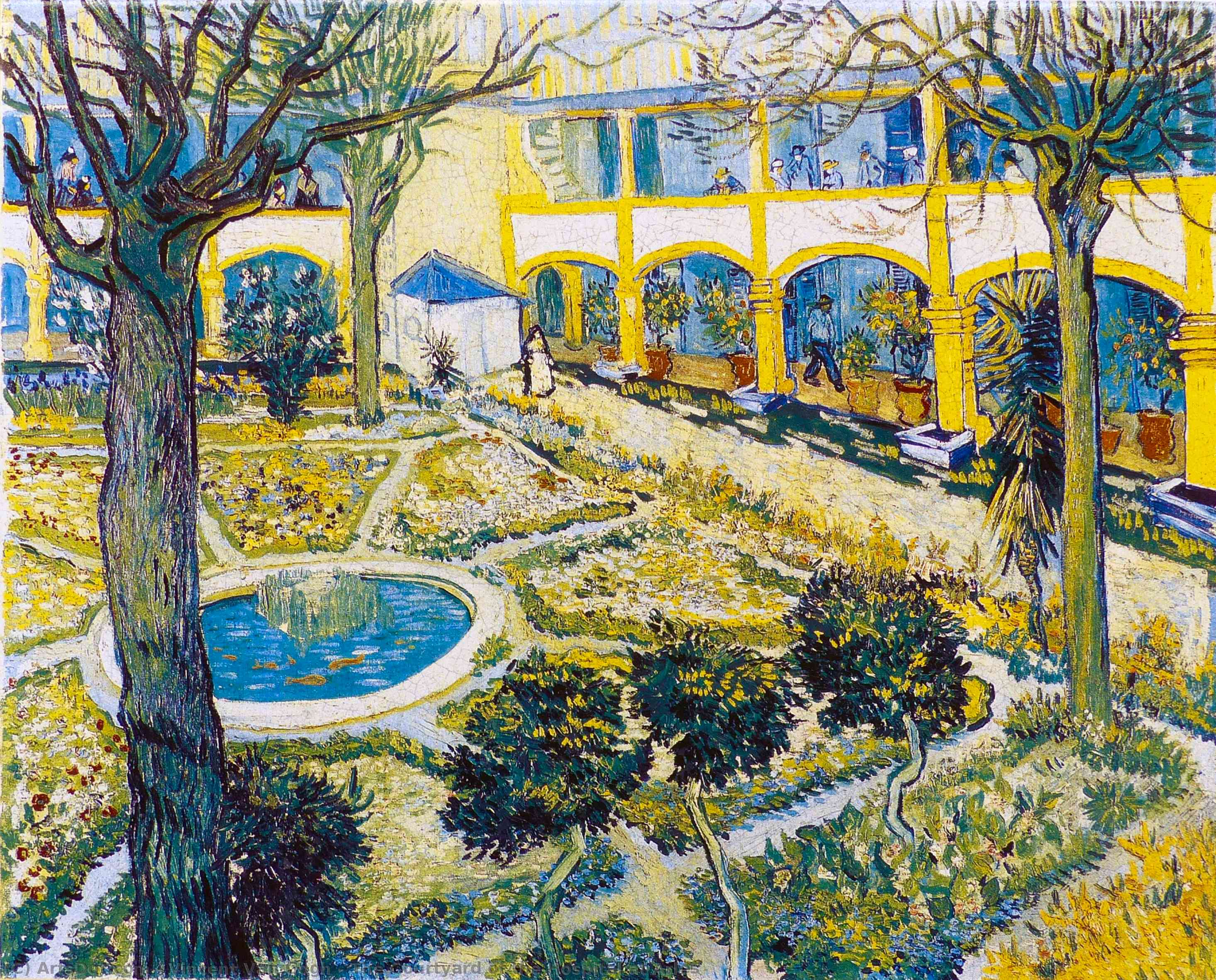 Wikioo.org - The Encyclopedia of Fine Arts - Painting, Artwork by Vincent Van Gogh - The Courtyard of the Hospital at Arles
