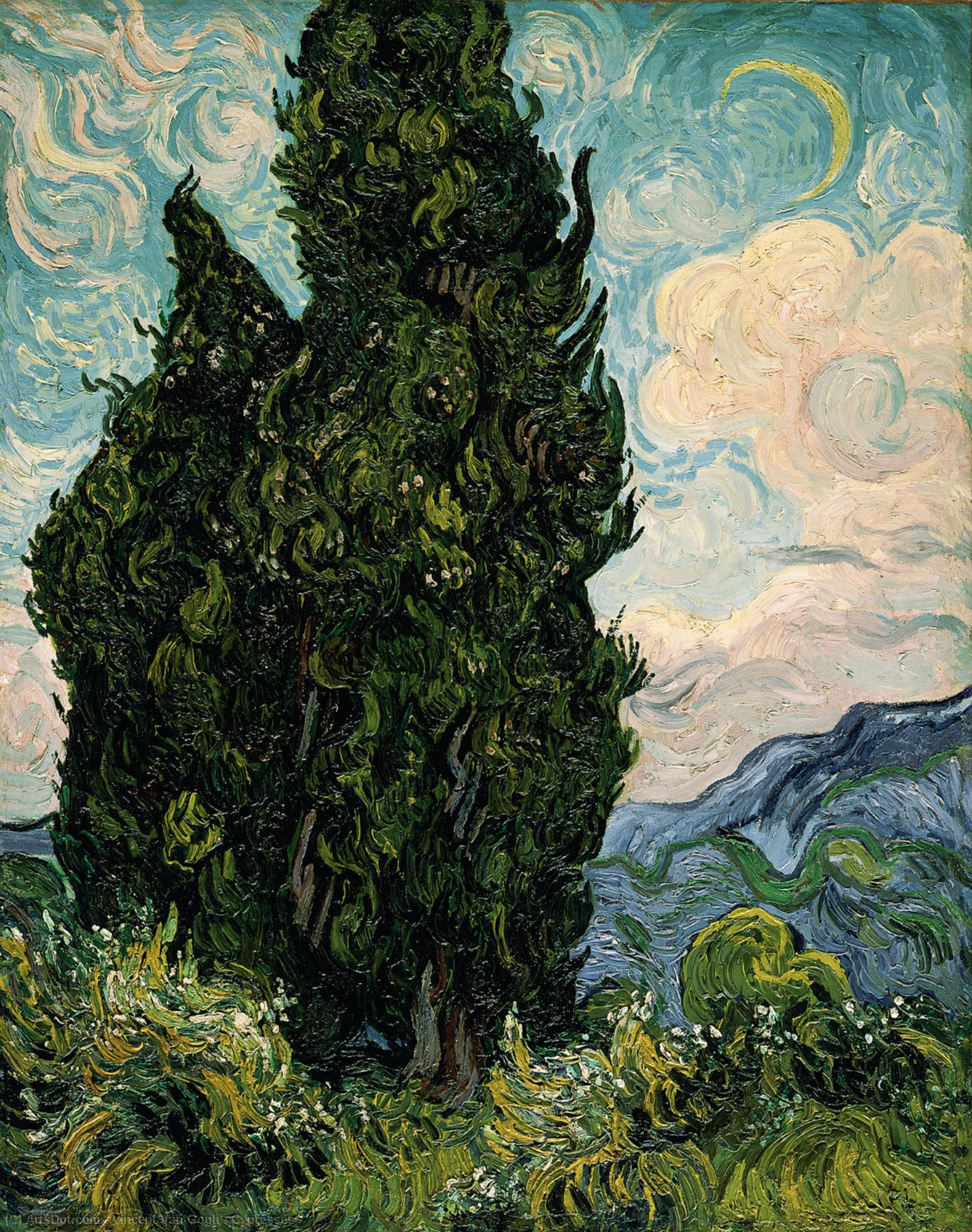 Wikioo.org - The Encyclopedia of Fine Arts - Painting, Artwork by Vincent Van Gogh - Cypresses