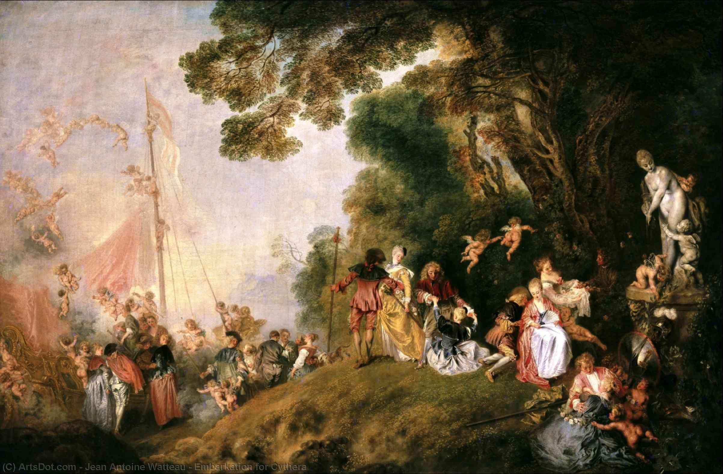 WikiOO.org - Enciklopedija dailės - Tapyba, meno kuriniai Jean Antoine Watteau - Embarkation for Cythera