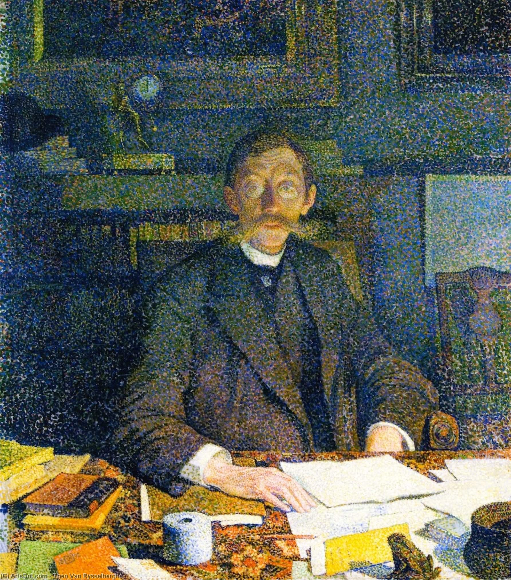 Wikoo.org - موسوعة الفنون الجميلة - اللوحة، العمل الفني Theo Van Rysselberghe - Emile Verhaeren in His Stody (rue du Moulin)