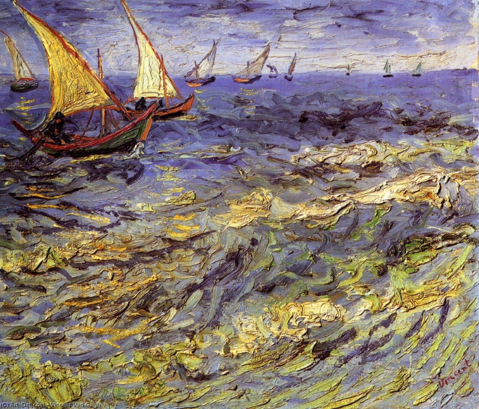 Wikioo.org - The Encyclopedia of Fine Arts - Painting, Artwork by Vincent Van Gogh - Fishing Boats at Sea (also known as Seascape at Saintes-Maries)