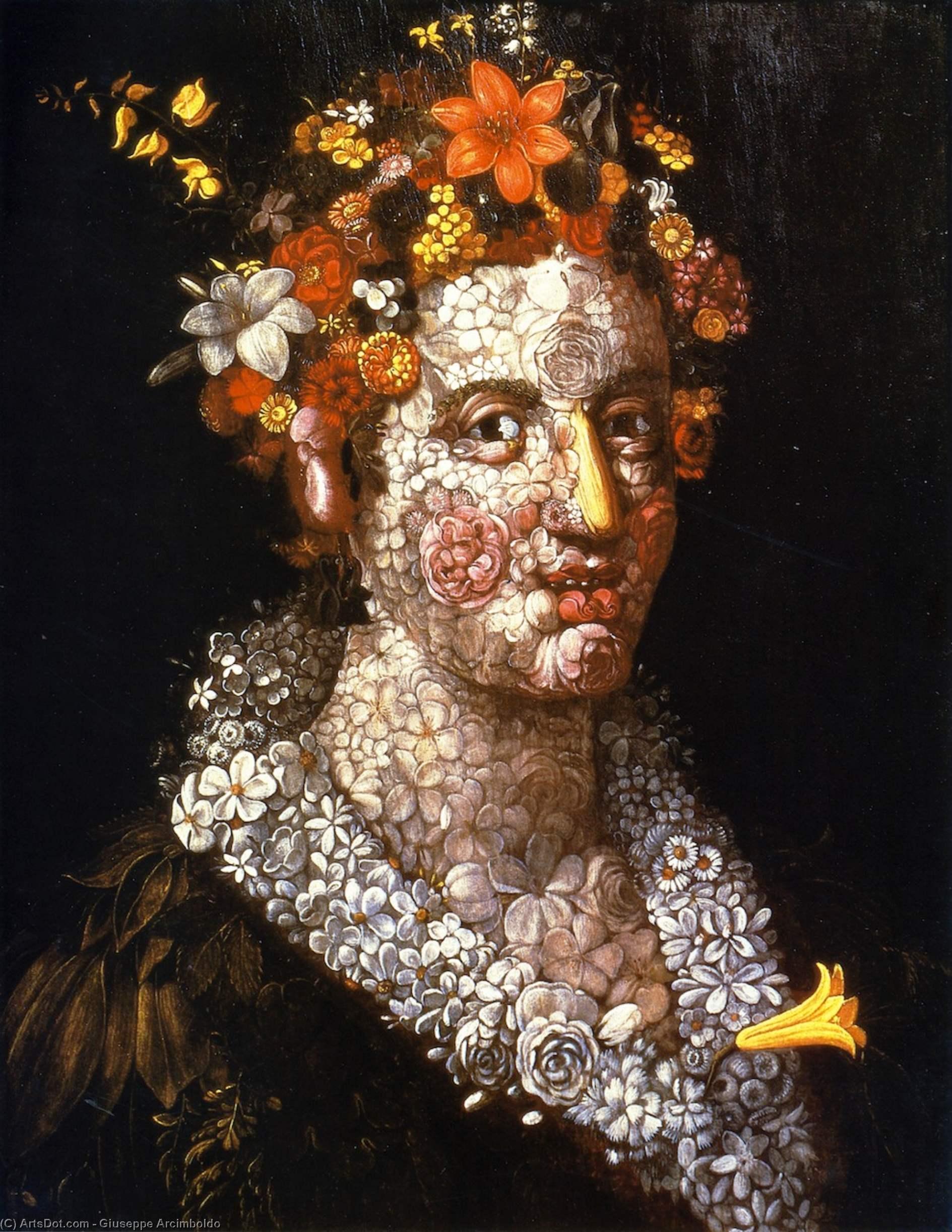 WikiOO.org - Encyclopedia of Fine Arts - Malba, Artwork Giuseppe Arcimboldo - Floral Still LIfe