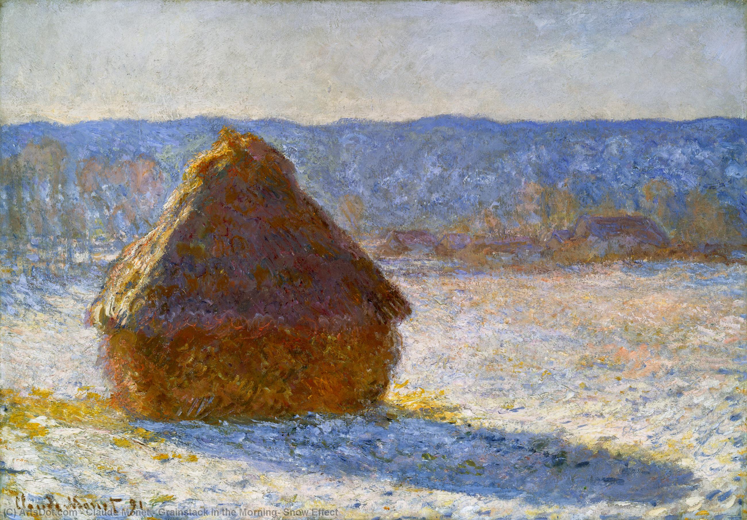 WikiOO.org - Encyclopedia of Fine Arts - Malba, Artwork Claude Monet - Grainstack in the Morning, Snow Effect
