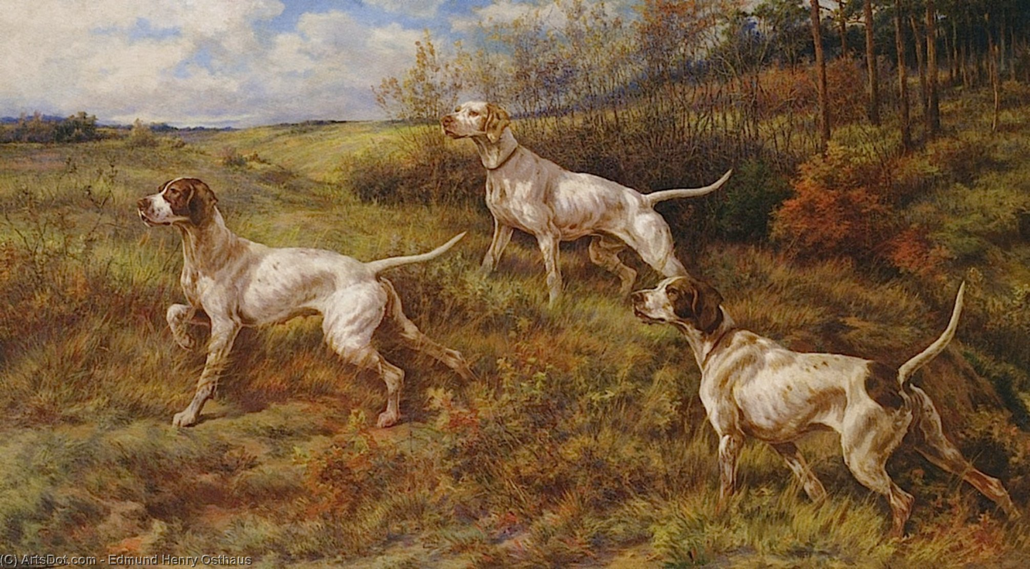 Wikioo.org - The Encyclopedia of Fine Arts - Painting, Artwork by Edmund Henry Osthaus - Hunting in the Fall - Three Pointers
