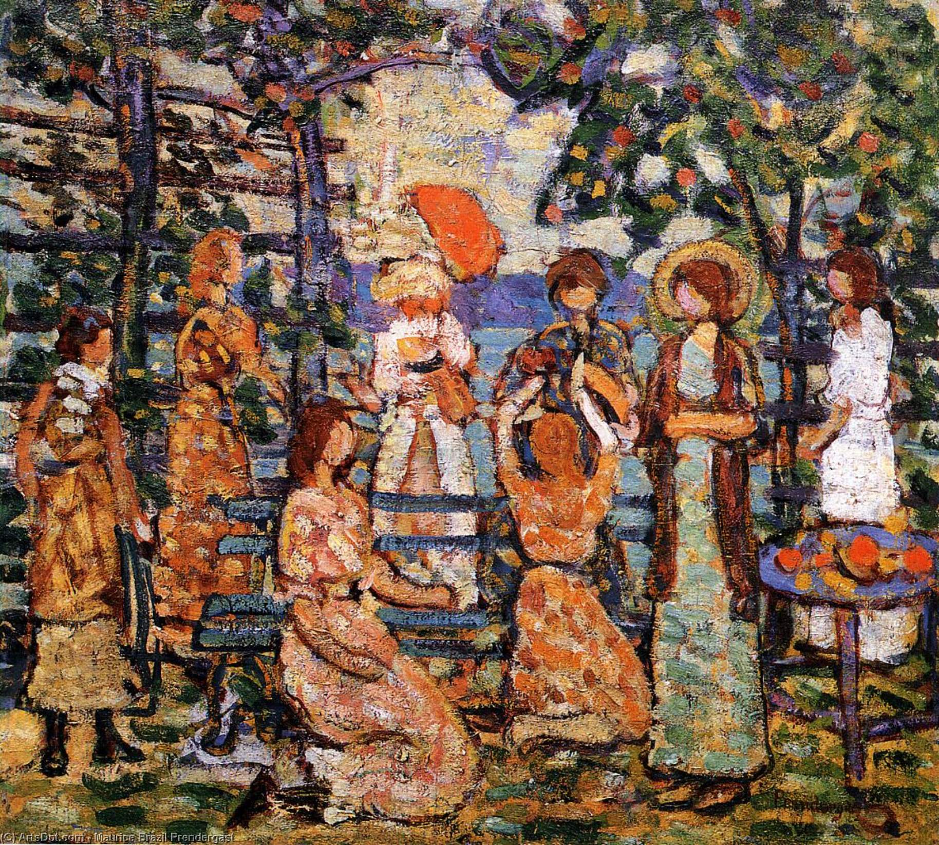 Wikioo.org - The Encyclopedia of Fine Arts - Painting, Artwork by Maurice Brazil Prendergast - Ladies in a Seaside Arbor