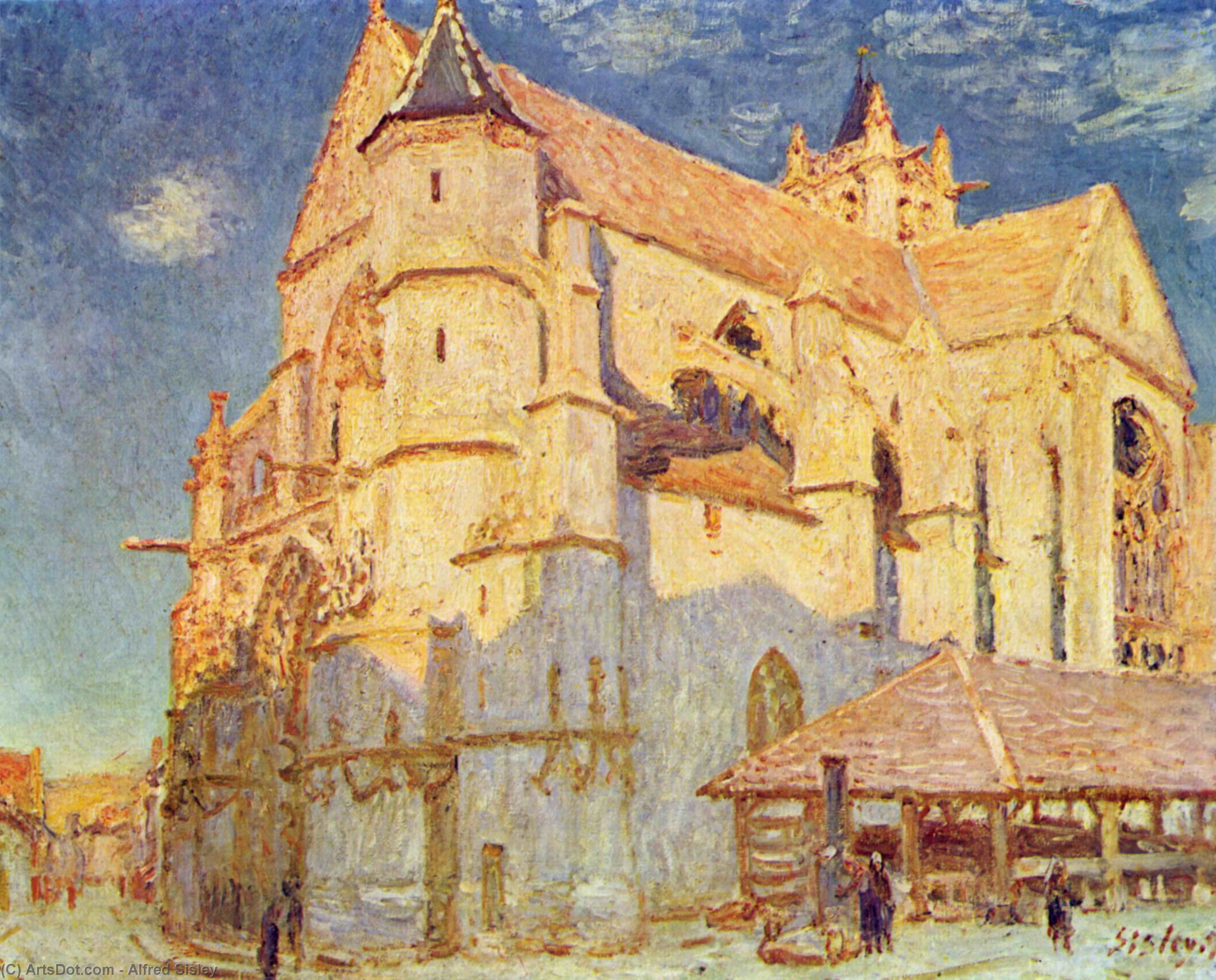 Wikioo.org - The Encyclopedia of Fine Arts - Painting, Artwork by Alfred Sisley - Church of Moret