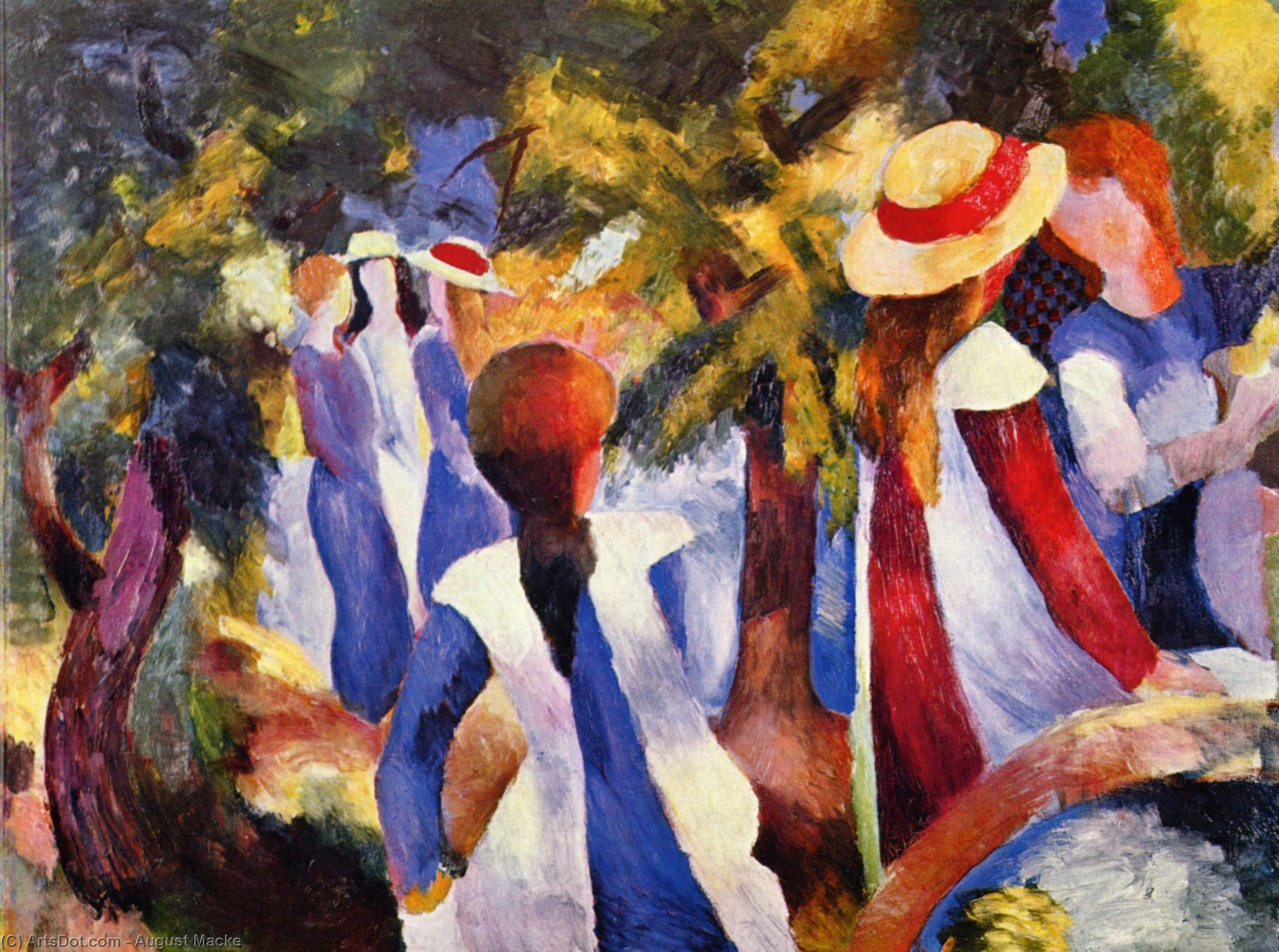Wikioo.org - The Encyclopedia of Fine Arts - Painting, Artwork by August Macke - Girl in the greenery