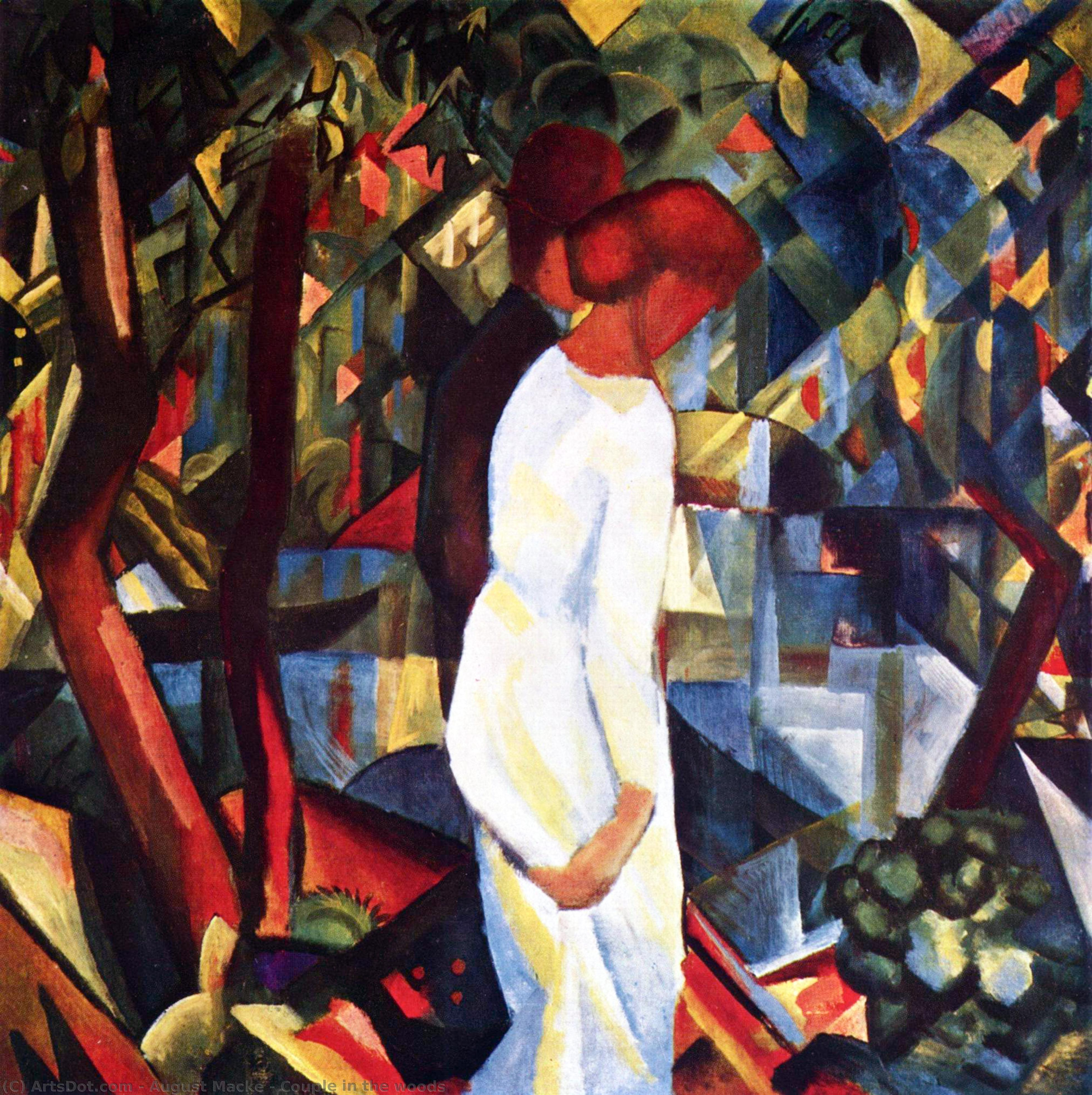 Wikioo.org - The Encyclopedia of Fine Arts - Painting, Artwork by August Macke - Couplein the woods