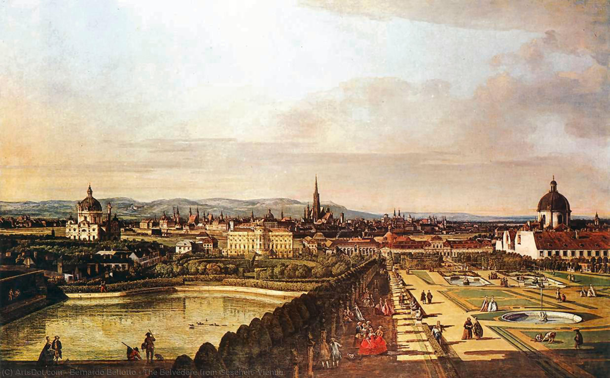 Wikioo.org - The Encyclopedia of Fine Arts - Painting, Artwork by Bernardo Bellotto - The Belvedere from Gesehen, Vienna