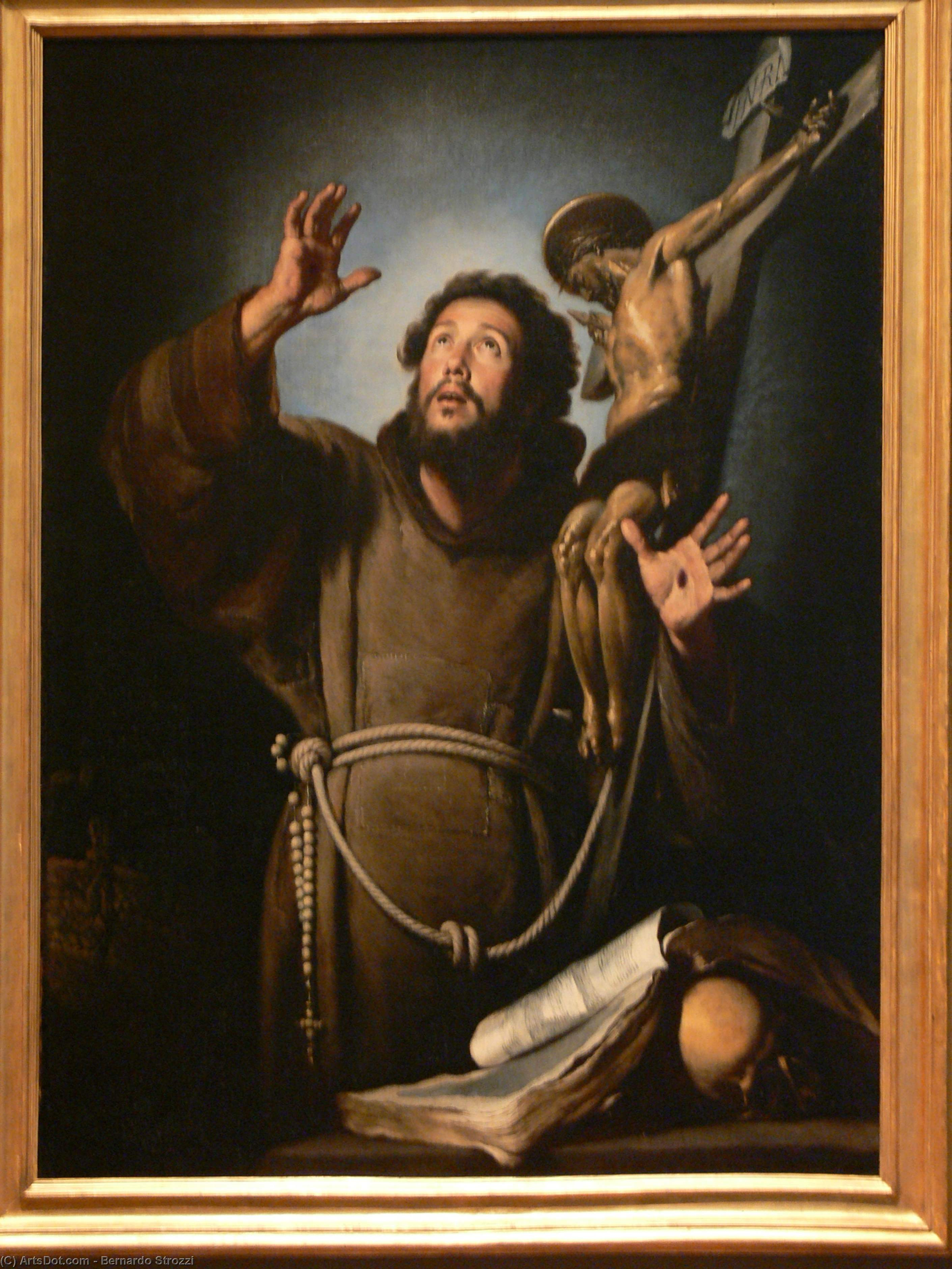 Wikioo.org - The Encyclopedia of Fine Arts - Painting, Artwork by Bernardo Strozzi - St.Francis in ecstasy