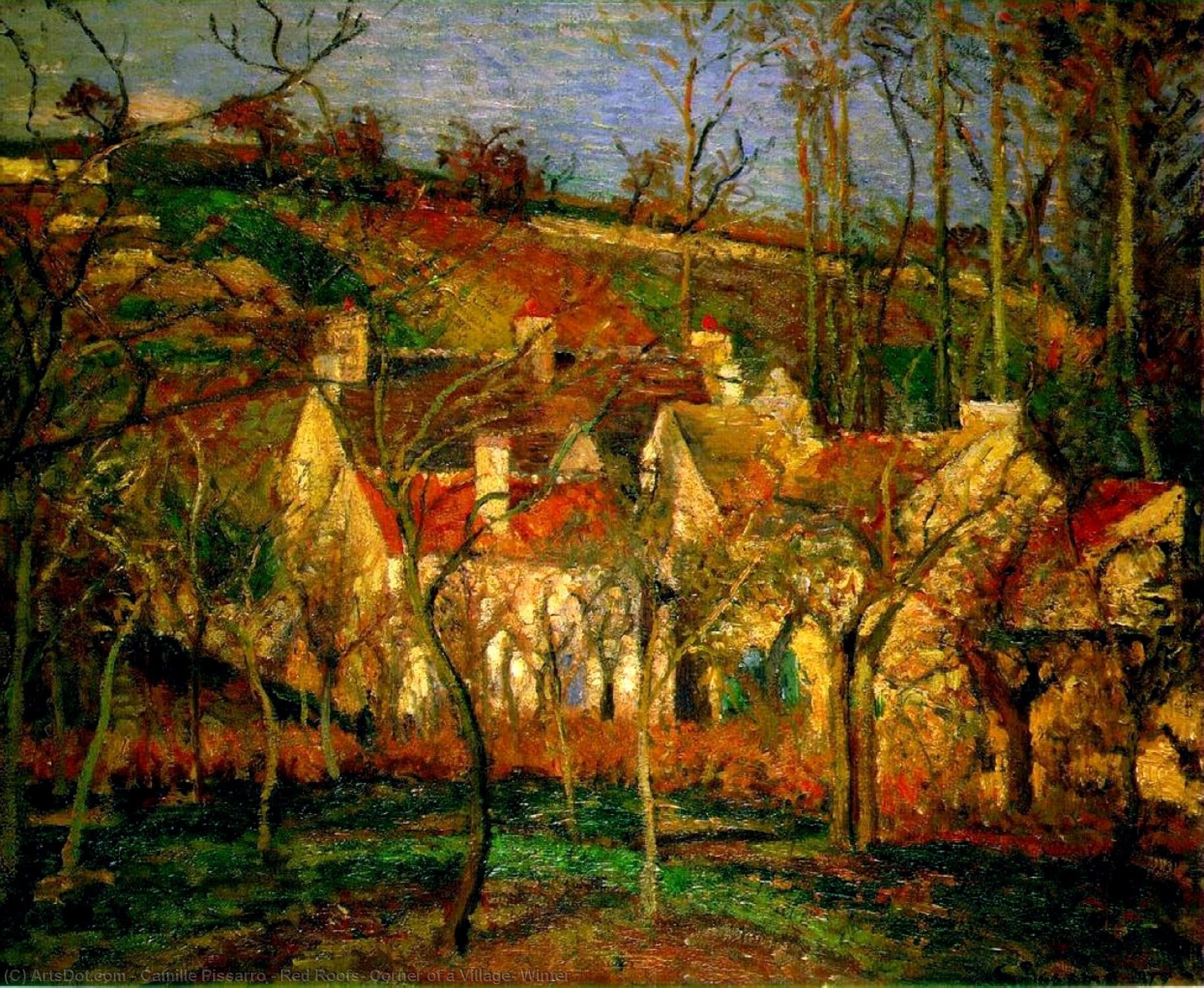 Wikioo.org - Die Enzyklopädie bildender Kunst - Malerei, Kunstwerk von Camille Pissarro - rote dächer , ecke eines dorfes , Winter