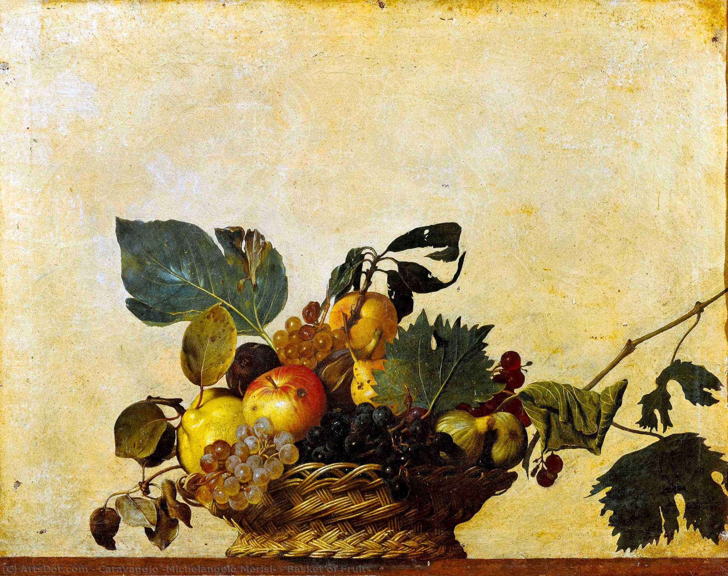 Wikioo.org - The Encyclopedia of Fine Arts - Painting, Artwork by Caravaggio (Michelangelo Merisi) - Basket of Fruit
