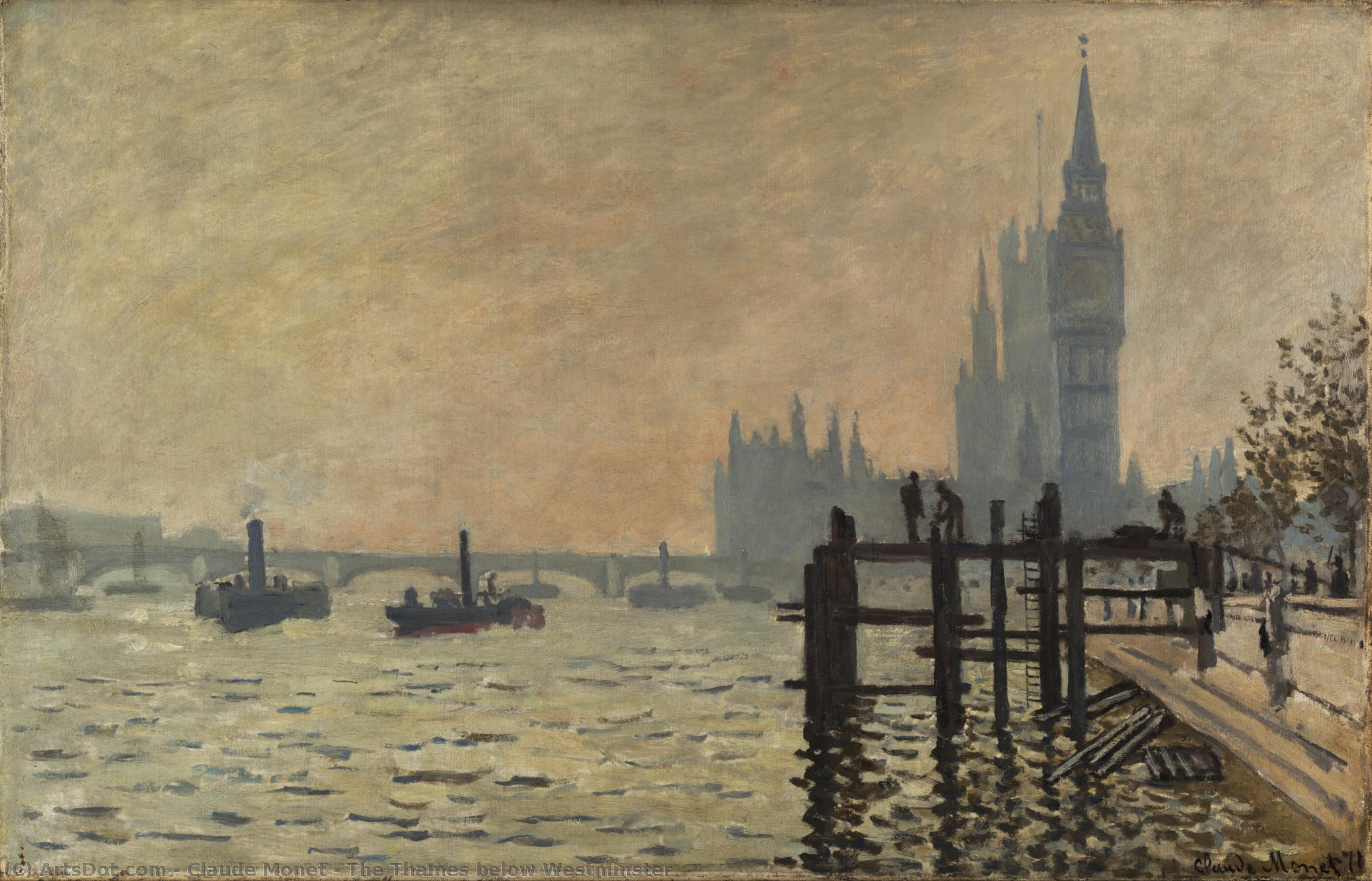 Wikioo.org - The Encyclopedia of Fine Arts - Painting, Artwork by Claude Monet - The Thames below Westminster
