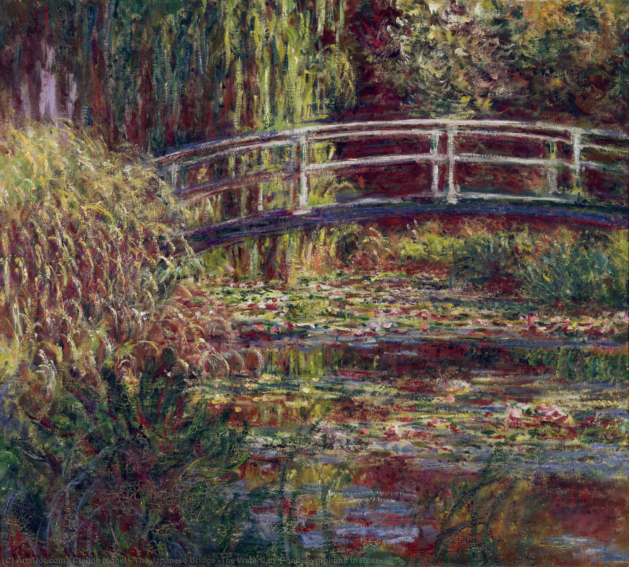 Wikioo.org - The Encyclopedia of Fine Arts - Painting, Artwork by Claude Monet - The Japanese Bridge (The Water-Lily Pond, Symphony in Rose)