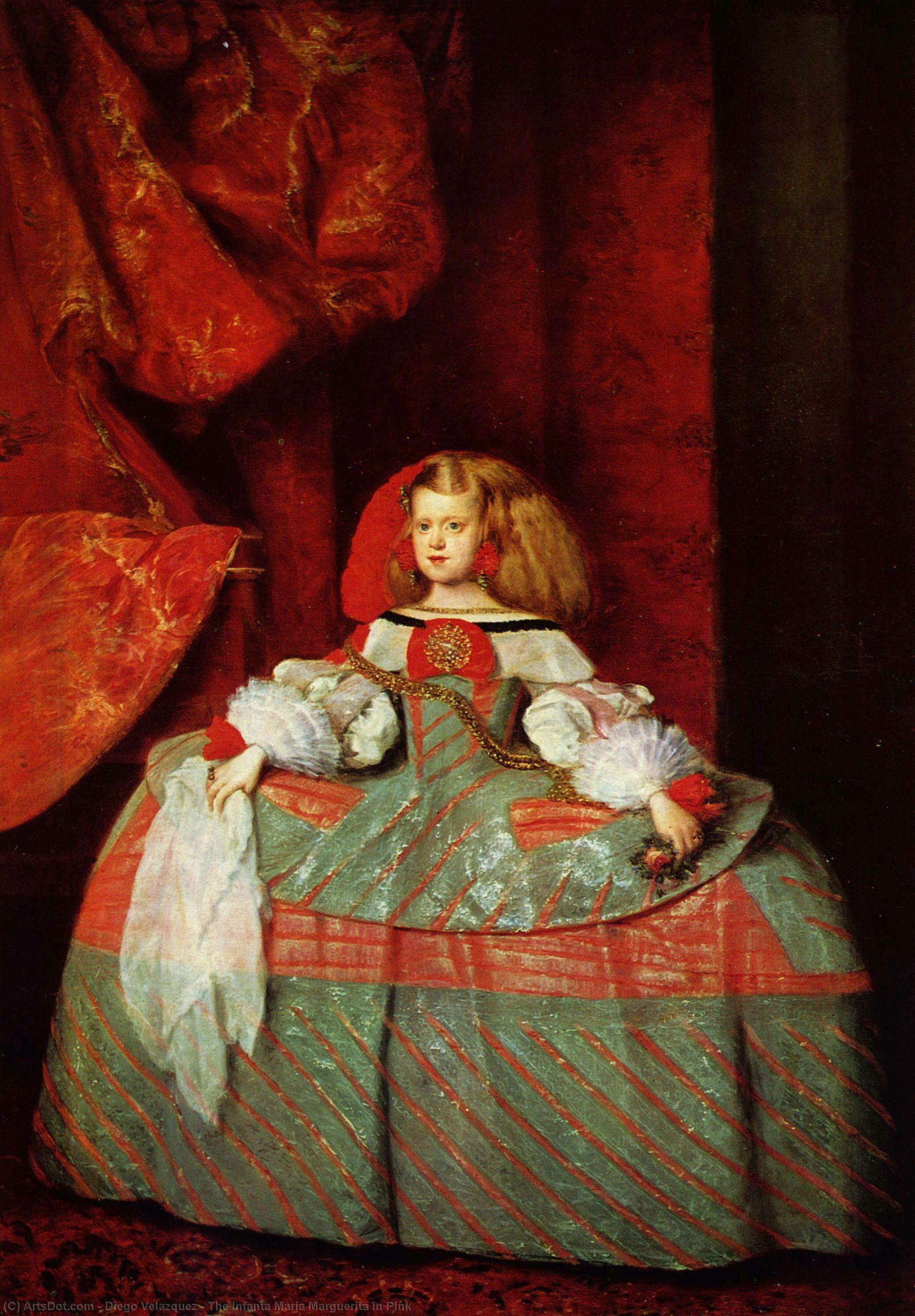 Wikioo.org - The Encyclopedia of Fine Arts - Painting, Artwork by Diego Velazquez - The Infanta Maria Marguerita in Pink