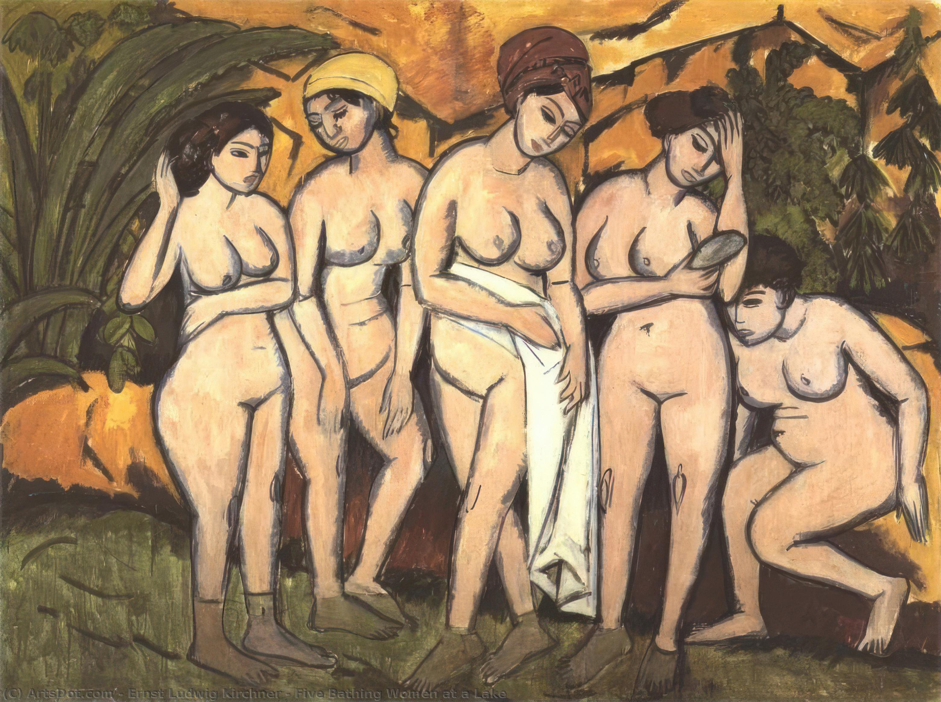 Wikoo.org - موسوعة الفنون الجميلة - اللوحة، العمل الفني Ernst Ludwig Kirchner - Five Bathing Women at a Lake
