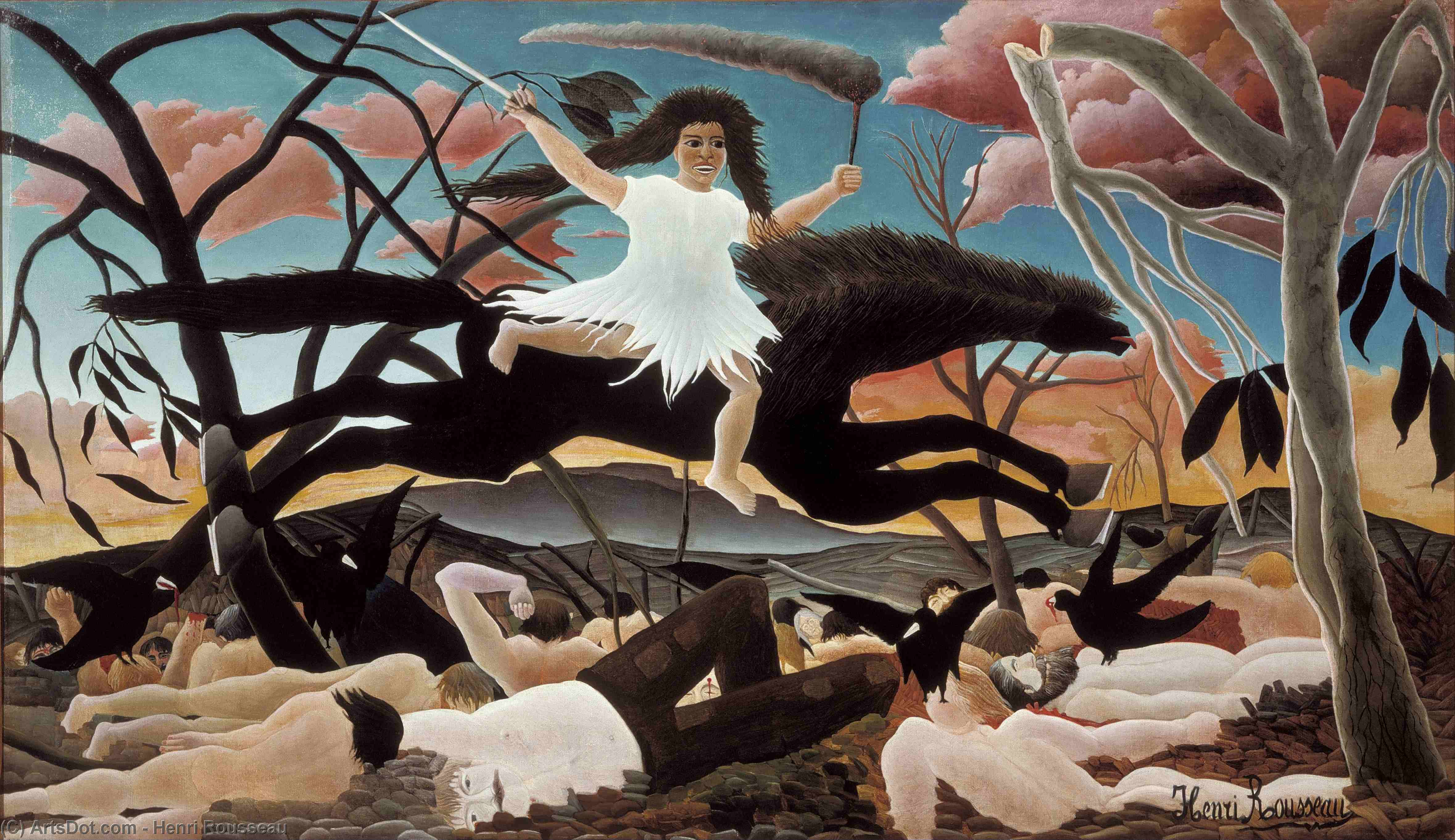 Wikioo.org - The Encyclopedia of Fine Arts - Painting, Artwork by Henri Emilien Rousseau - War or the Ride of Discord