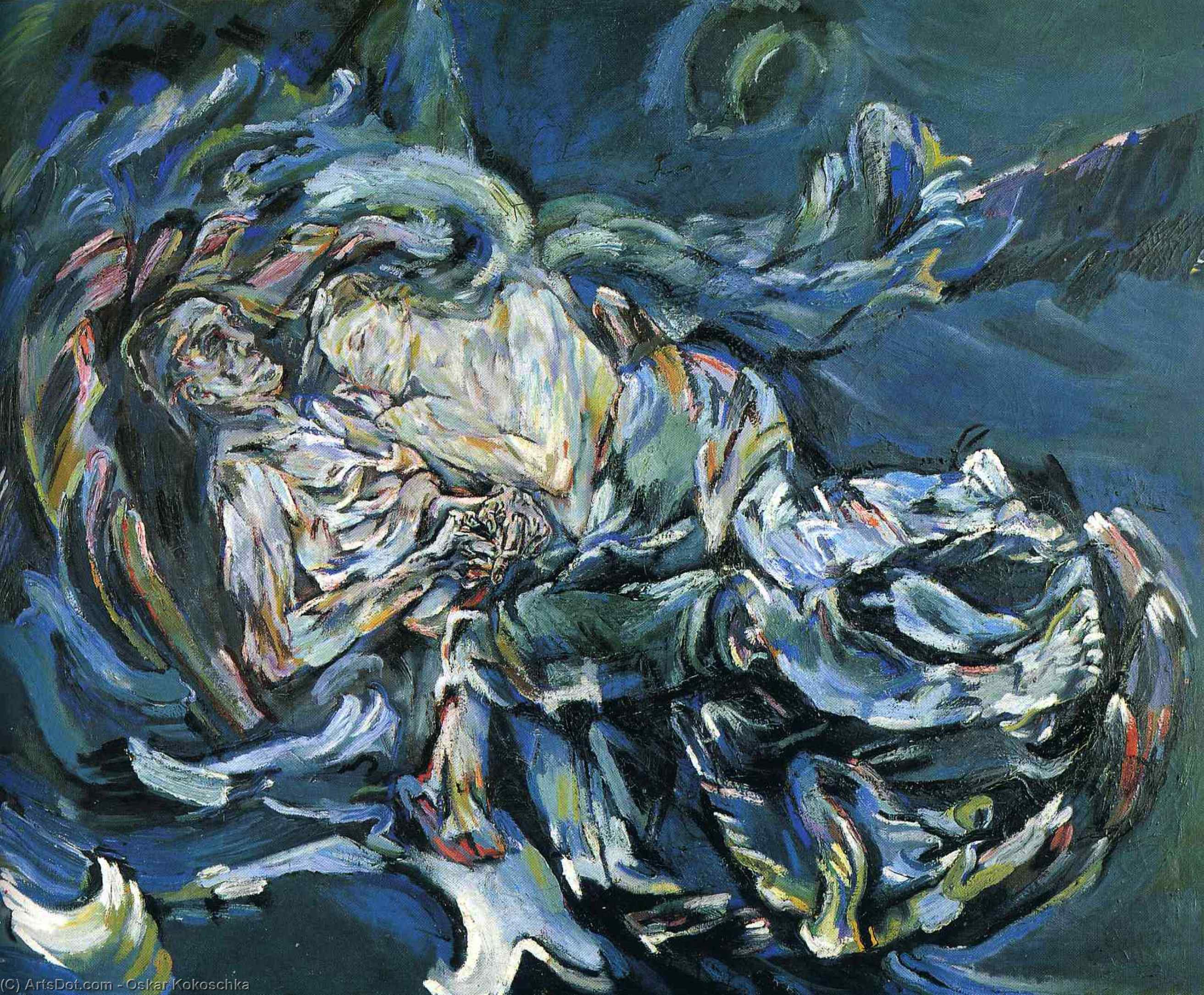 Wikoo.org - موسوعة الفنون الجميلة - اللوحة، العمل الفني Oskar Kokoschka - Bride of the Wind