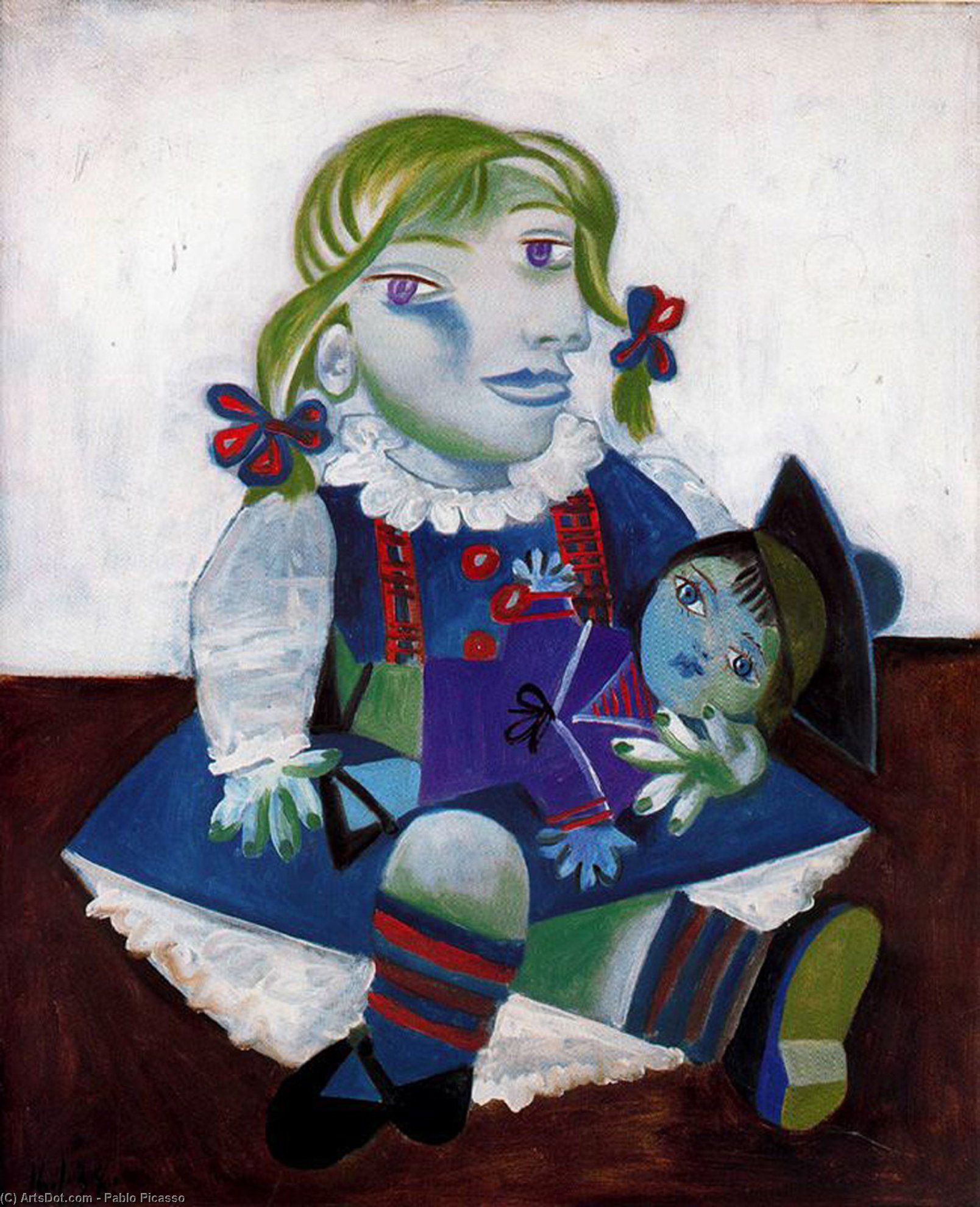 Wikioo.org - The Encyclopedia of Fine Arts - Painting, Artwork by Pablo Picasso - Portrait of Maya with her doll
