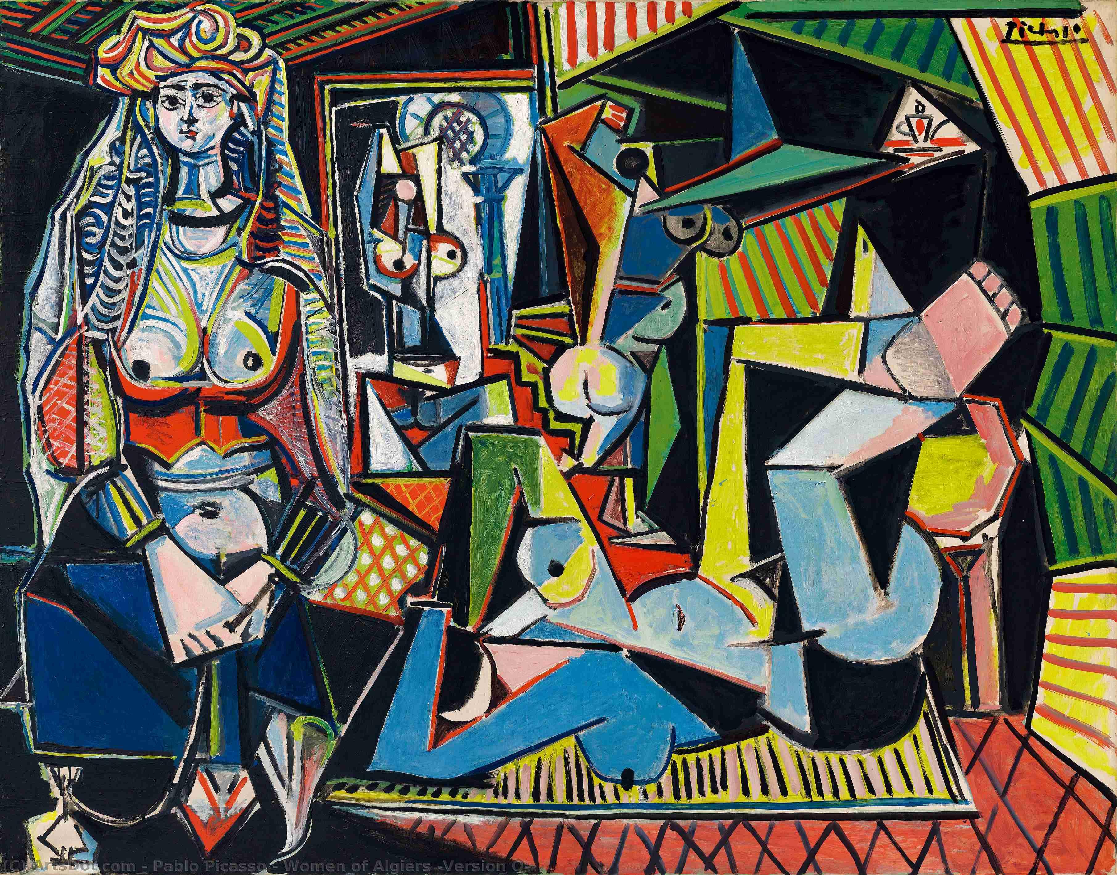 WikiOO.org - Enciklopedija dailės - Tapyba, meno kuriniai Pablo Picasso - Women of Algiers (Version O)