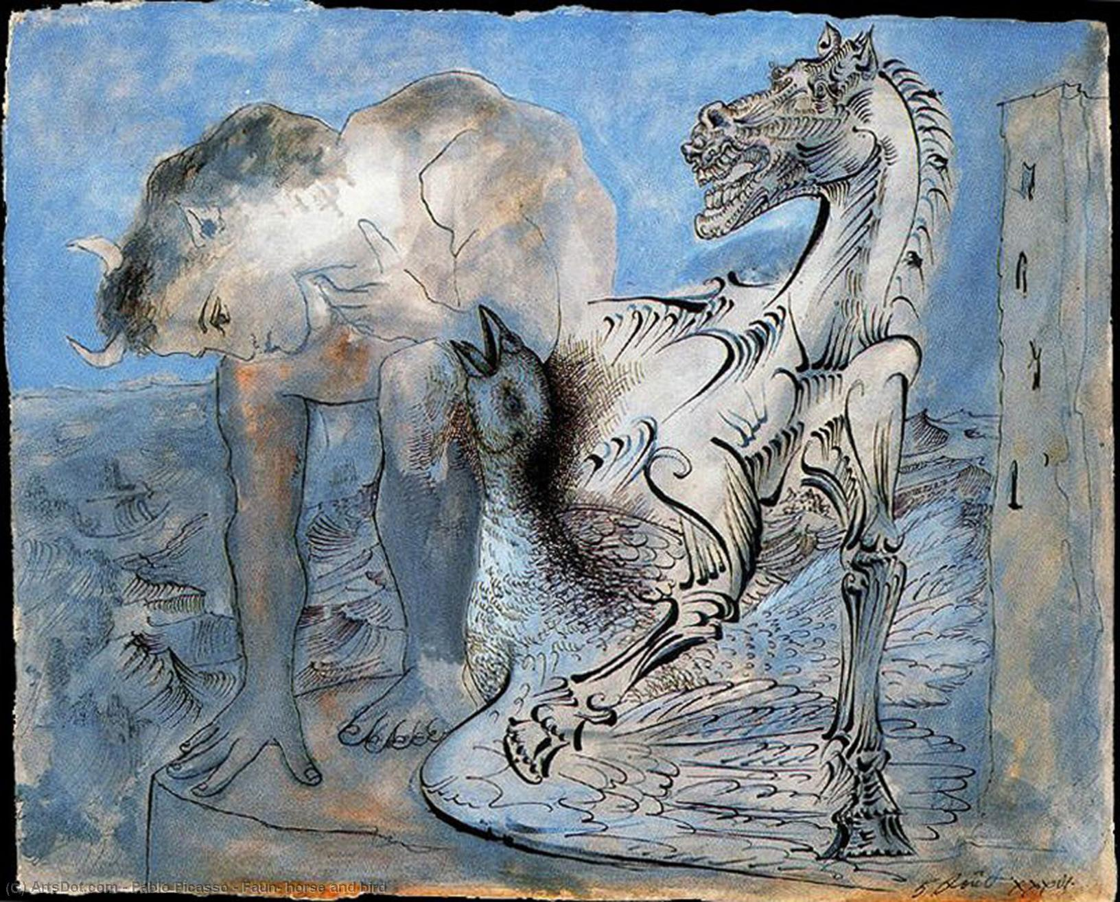 Wikioo.org - The Encyclopedia of Fine Arts - Painting, Artwork by Pablo Picasso - Faun, horse and bird